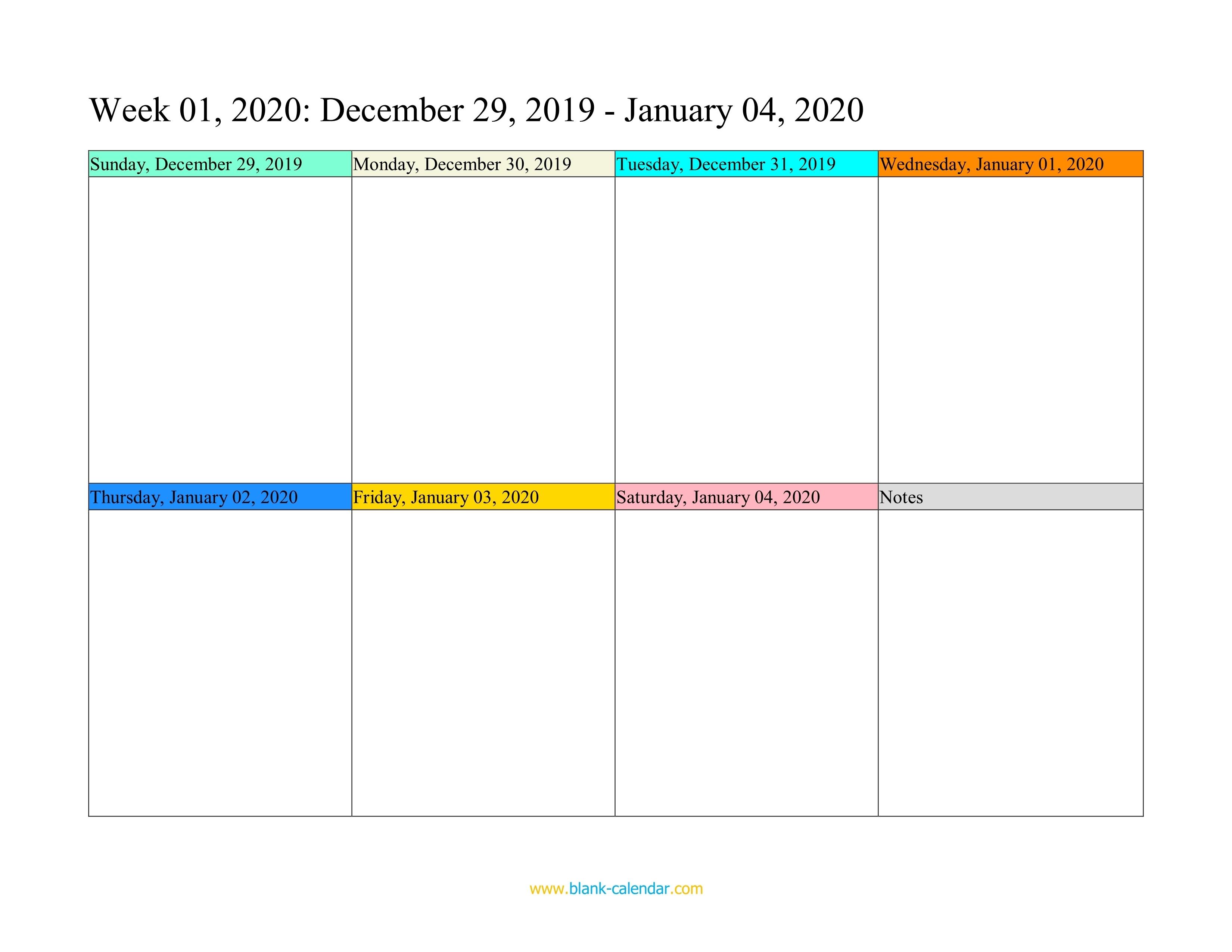 Weekly Calendar 2020 (Word, Excel, Pdf) Free Calendar Weekly Template