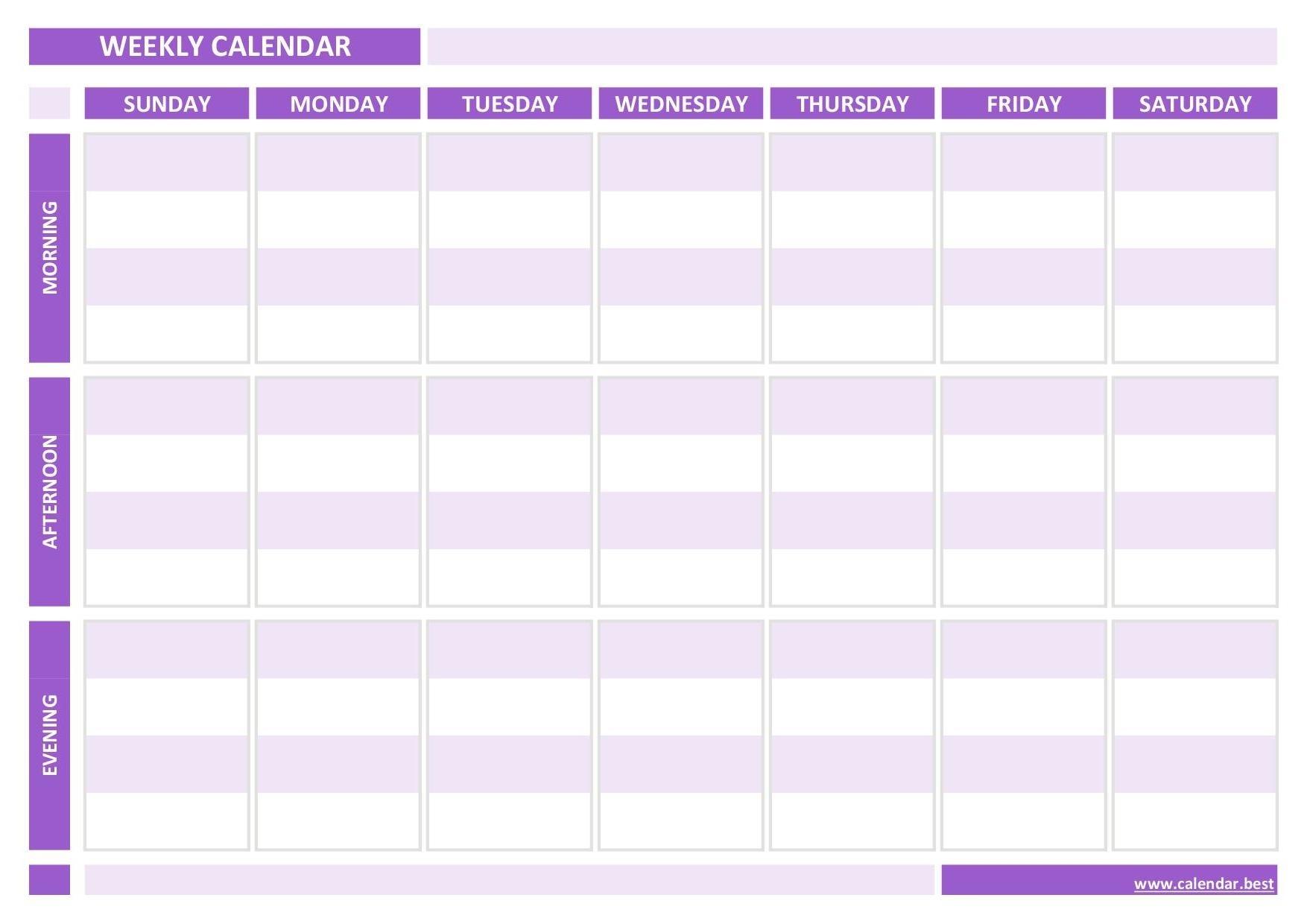 Weekly Calendar, Weekly Schedule -Calendar.best 3 Week Calendar Template