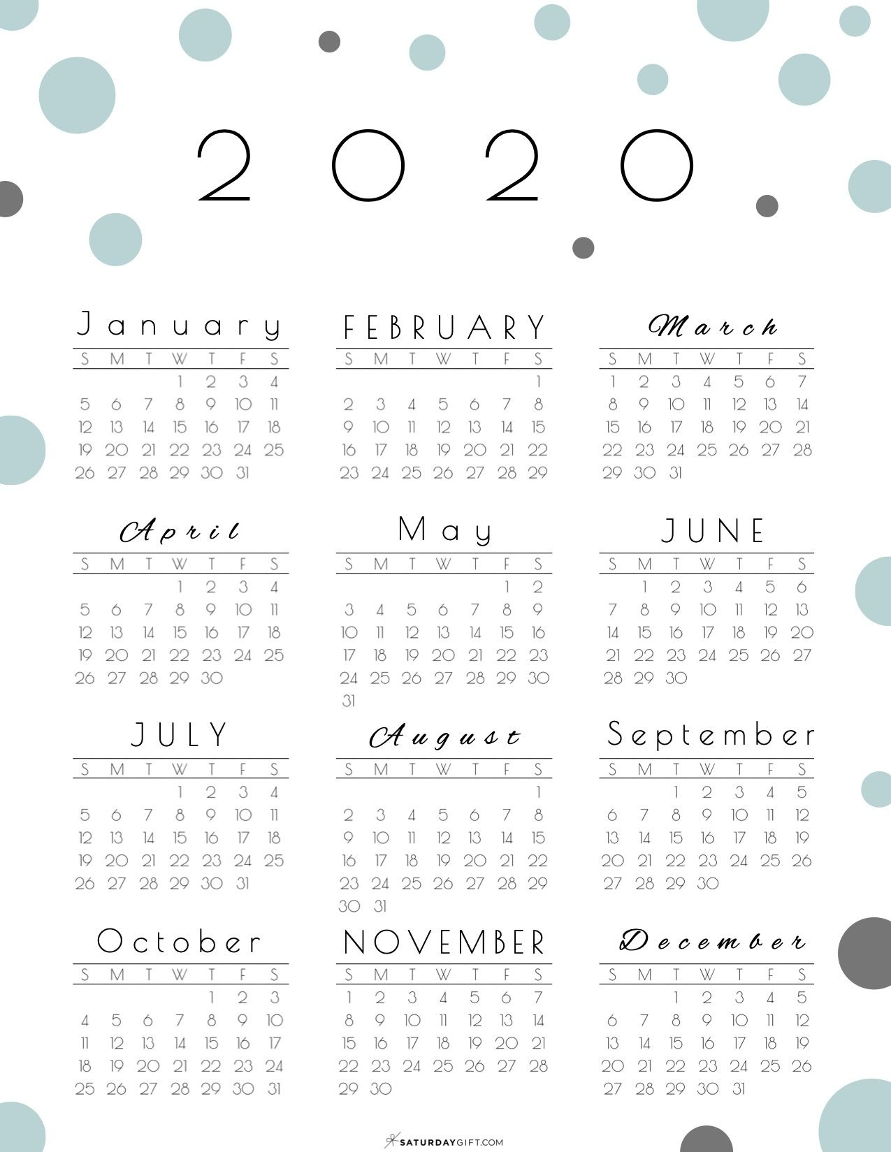 Year At A Glance Calendar 2020 - Pretty (&Free!) Printable Calendar Template Year At A Glance