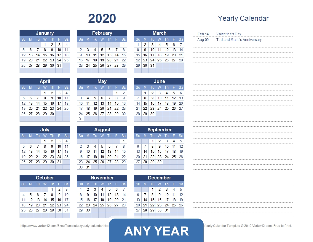 Yearly Calendar Template For 2020 And Beyond Year Long Calendar Template