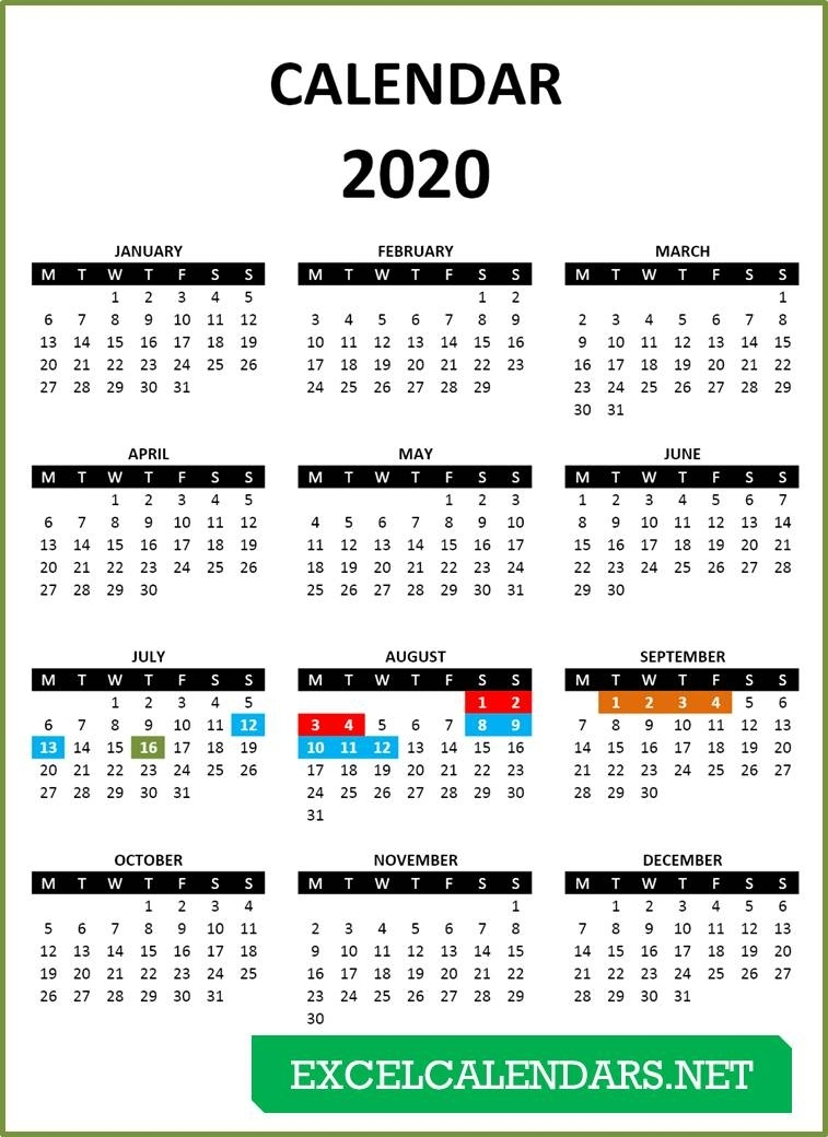 Yearly Calendar Templates For Year 2019 | 2020 | 2021 | 2022 2 Year Calendar Template Excel