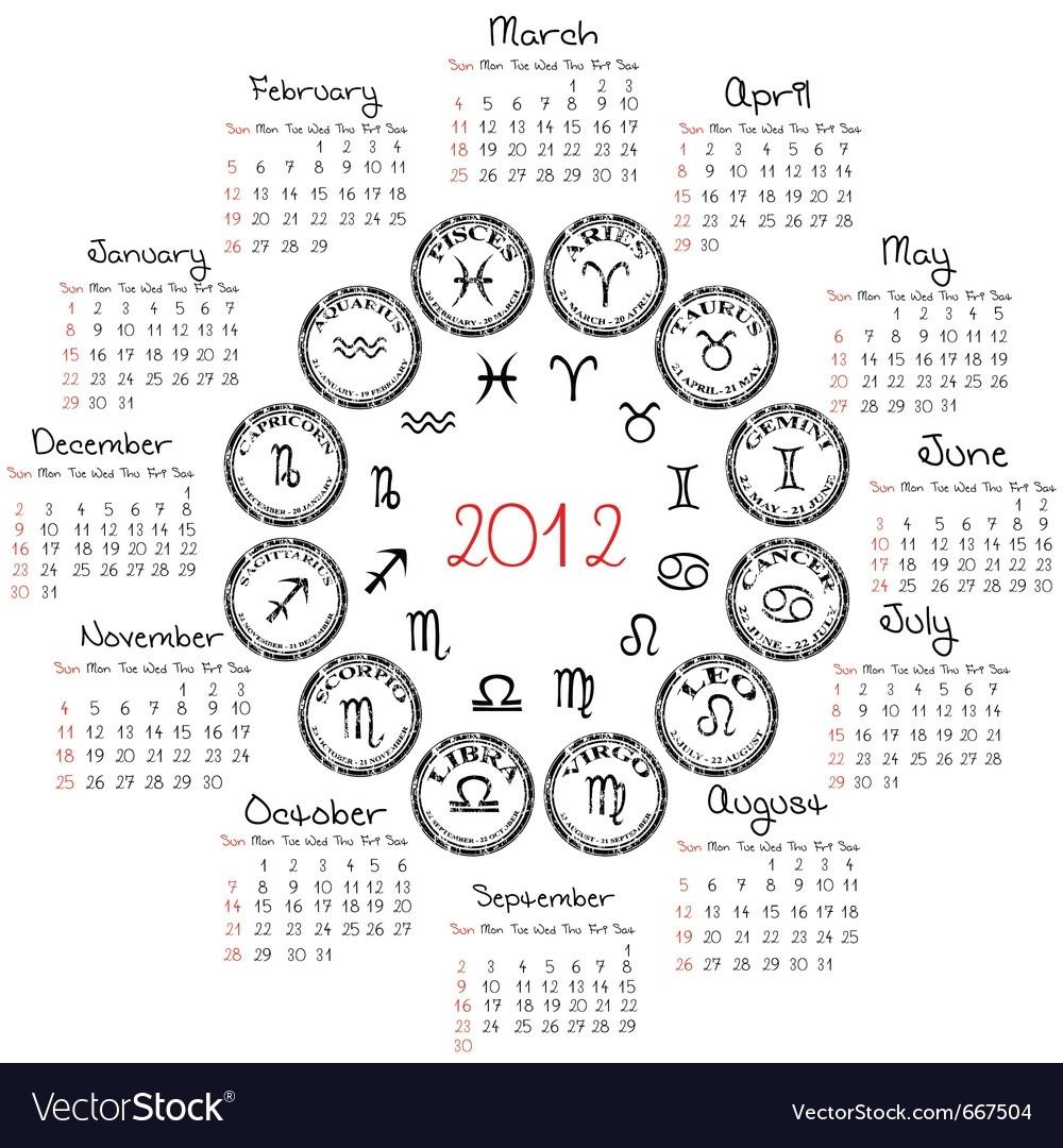 Zodiac Calendar Royalty Free Vector Image - Vectorstock Zodiac Calendar With Dates