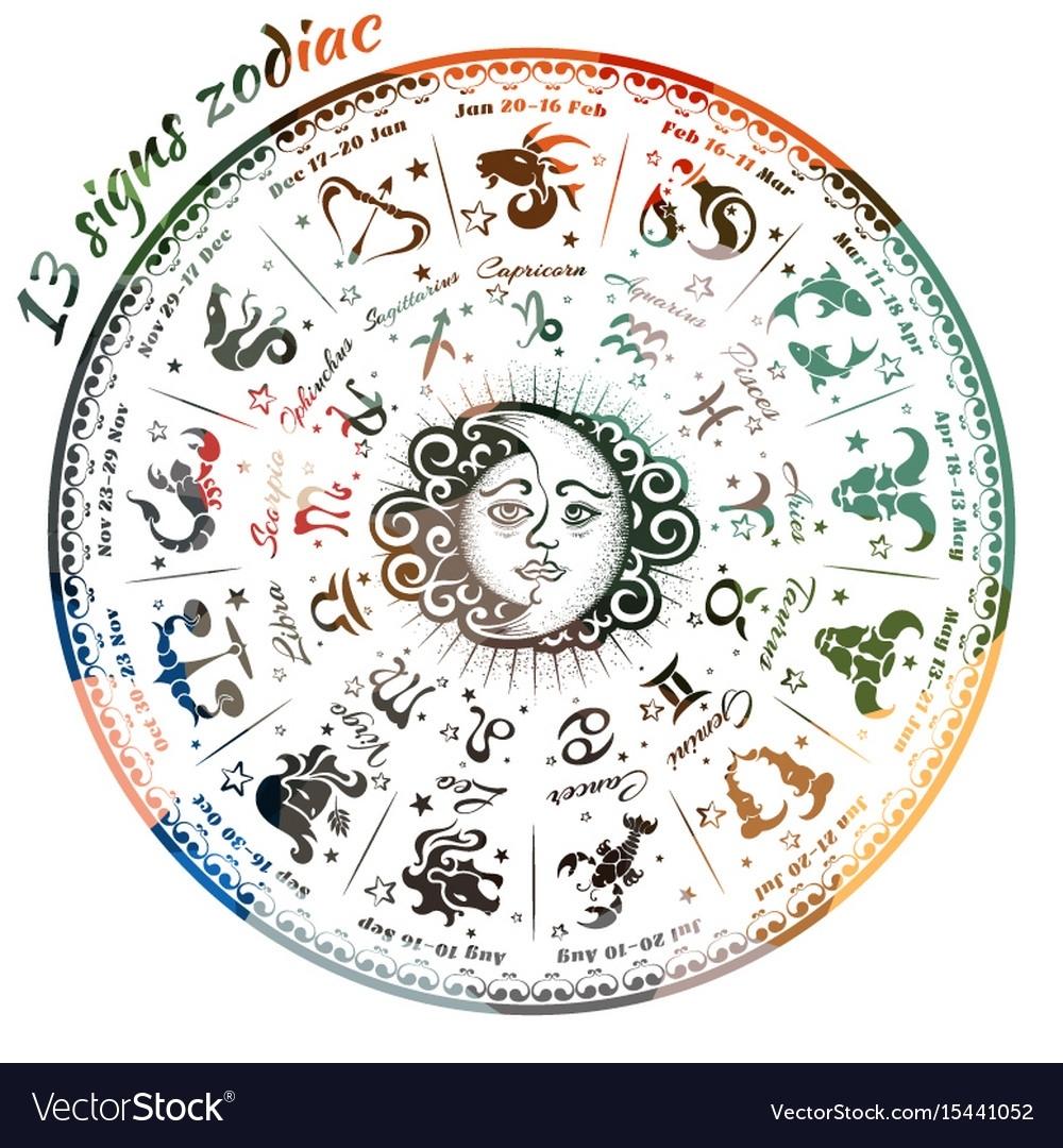 13 Signs Zodiac Royalty Free Vector Image - Vectorstock Zodiac Calendar 13 Signs