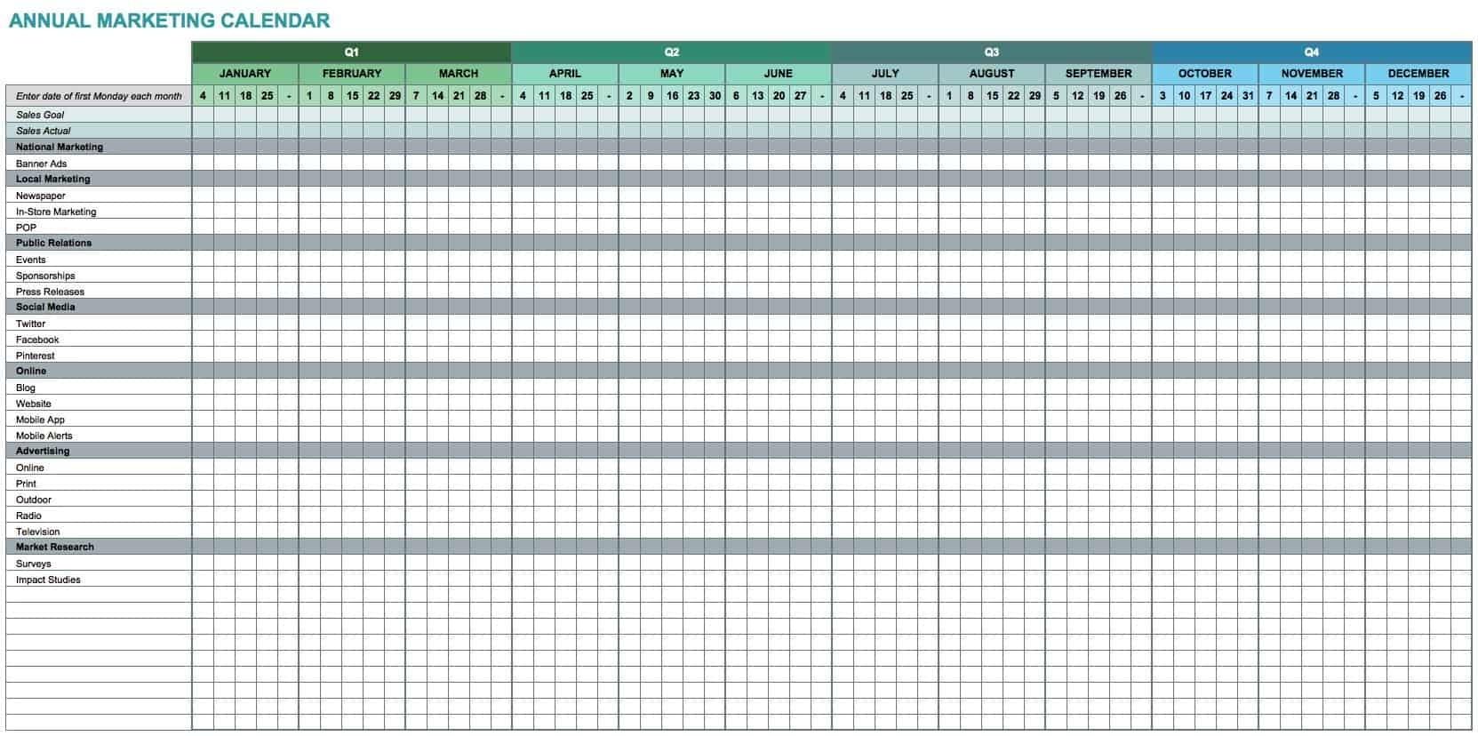 15+ Free Marketing Calendar Templates | Smartsheet Excel Calendar Template Yearly