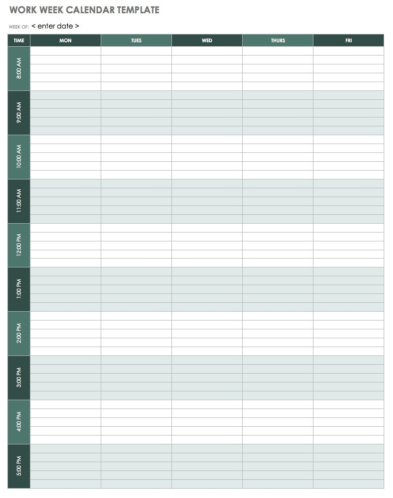 15 Free Weekly Calendar Templates   Smartsheet 7 Day Appointment Calendar Template