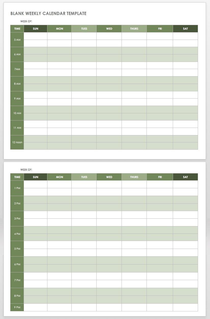 15 Free Weekly Calendar Templates | Smartsheet Calendar Template Week View