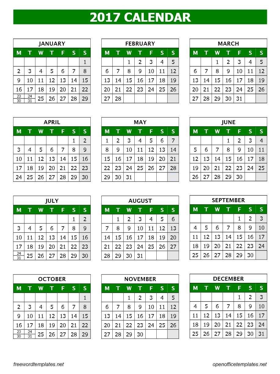 2017 Calendar Template | Open Office Templates Calendar Template Open Office