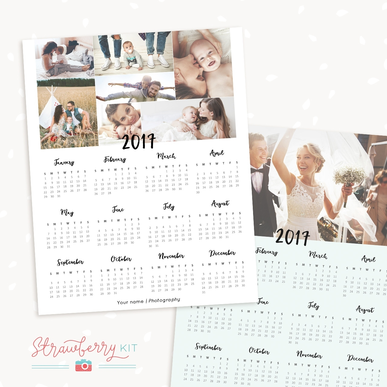 2017 One Page Calendar Template For Photographers 1 Page Calendar Template