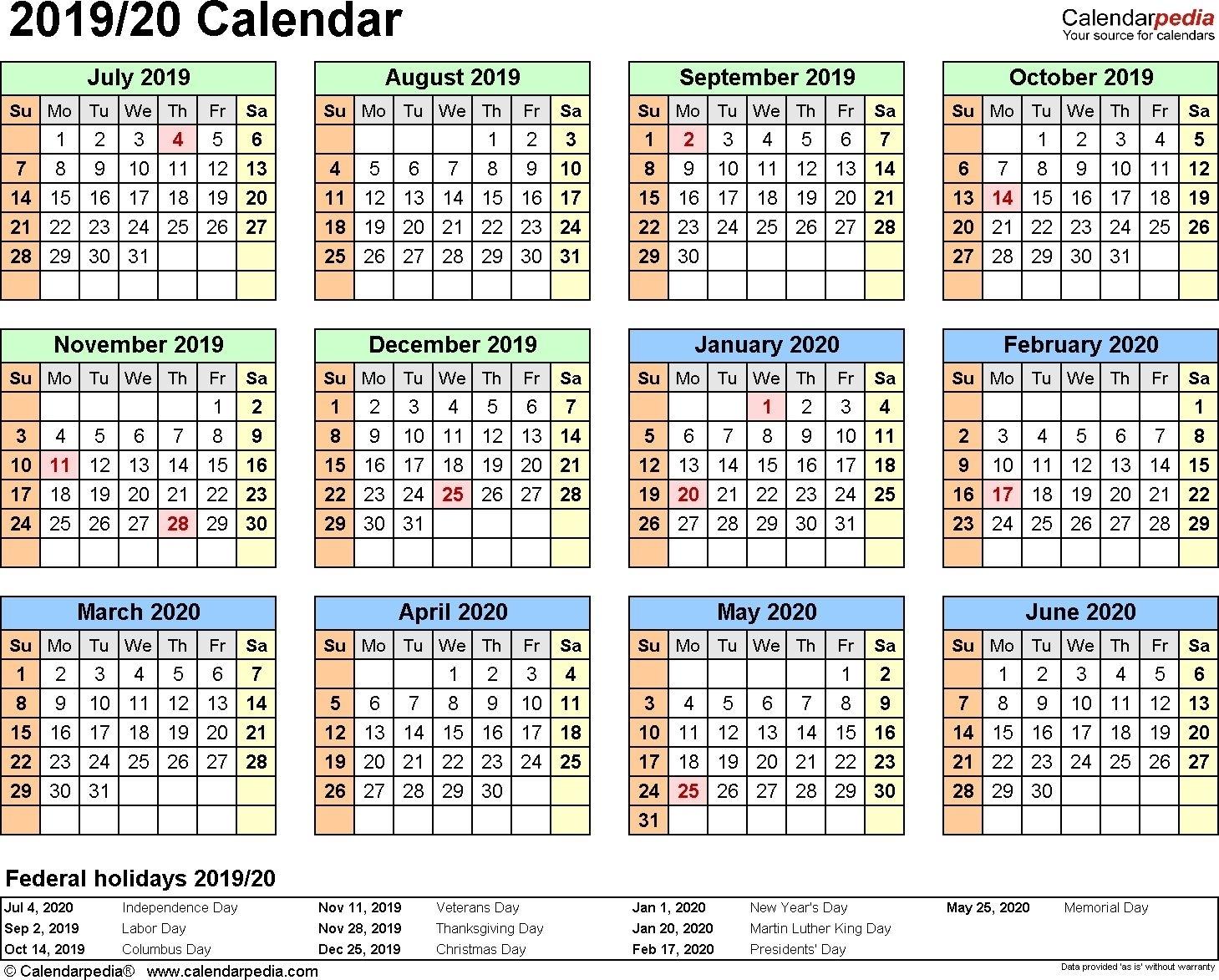 2019-2020 Fiscal Calendar 4 4 5 | Calendar Template Calendar 4 4 5 Template