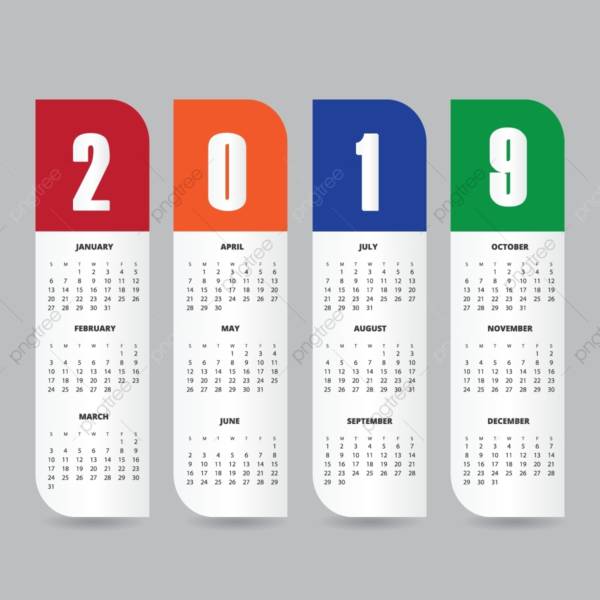 2019 Calendar Design Template, New, Planner, Addate Png And Free Calendar Background Templates
