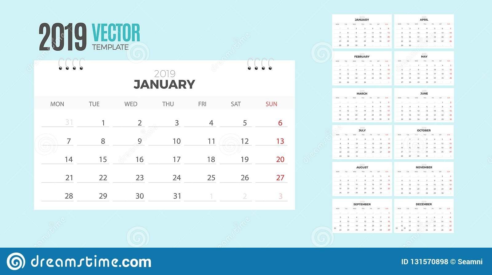 2019 Desk Calendar. Vector Empty White Template Ready For Print Ready Calendar Template