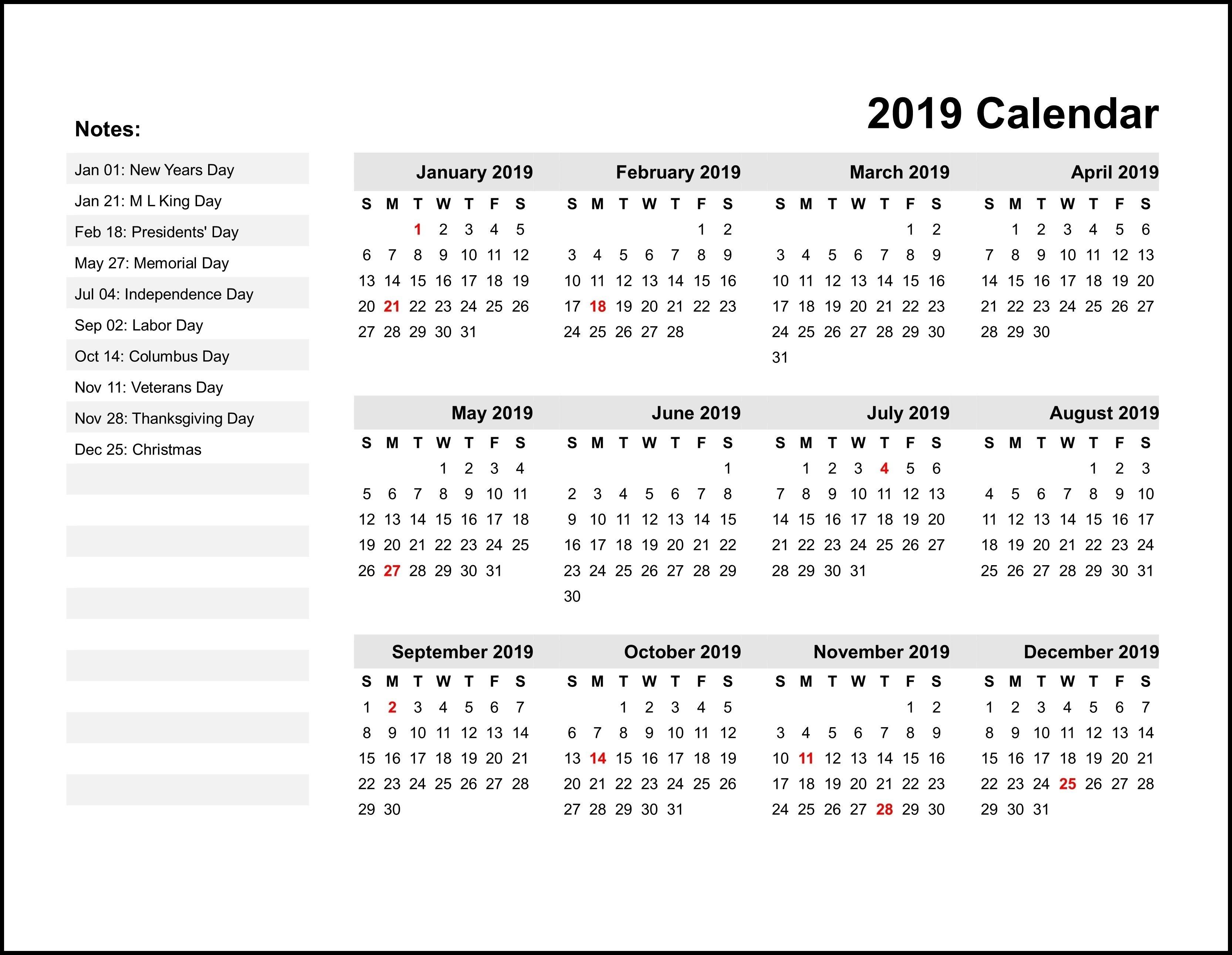 2019 Printable Monthly Calendar   Calendar Printables Apex 5 Calendar Template