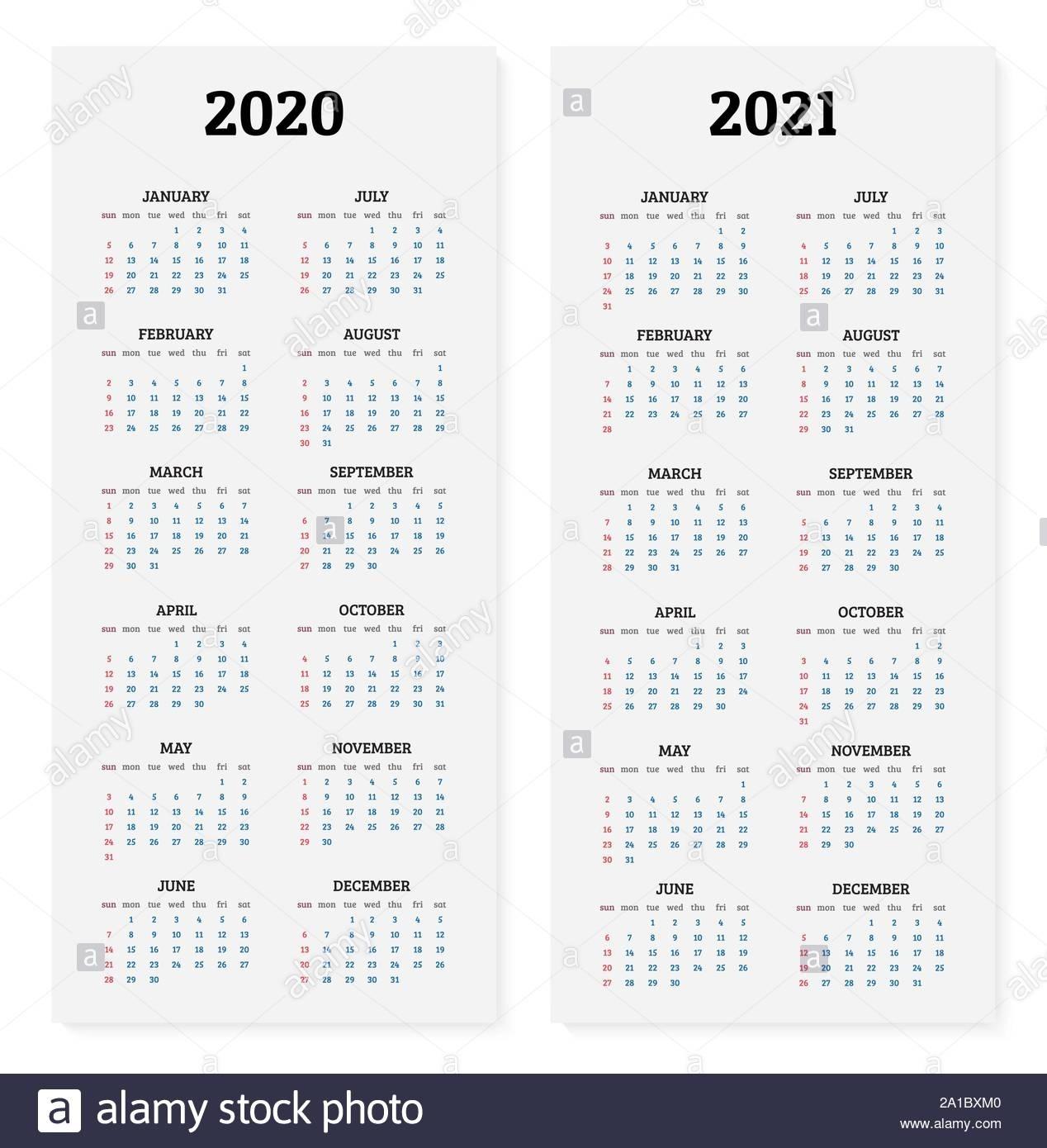 2020 And 2021 Annual Calendar. Vector Illustration Stock Calendario Juliano 2021
