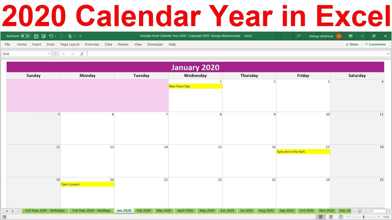 2020 Excel Calendar Template. 2020 Planner Spreadsheet. 2020 Year At A  Glance. 2020 Monthly Calendar Calendar Template On Excel