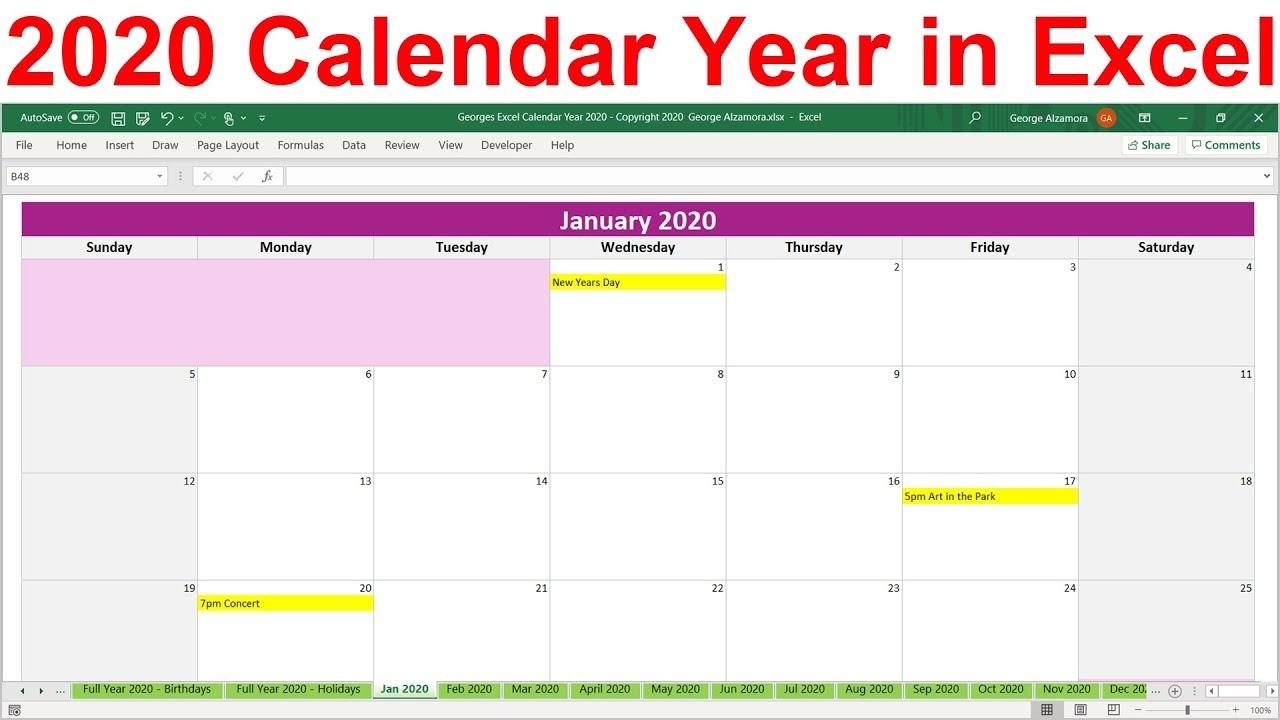 2020 Excel Calendar Template. 2020 Planner Spreadsheet. 2020 Year At A  Glance. 2020 Monthly Calendar Year Calendar Template For Excel