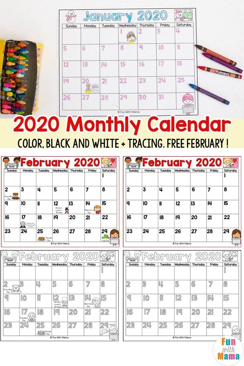 2020 Kids Calendar Printable - Fun With Mama Pre K Calendar Template