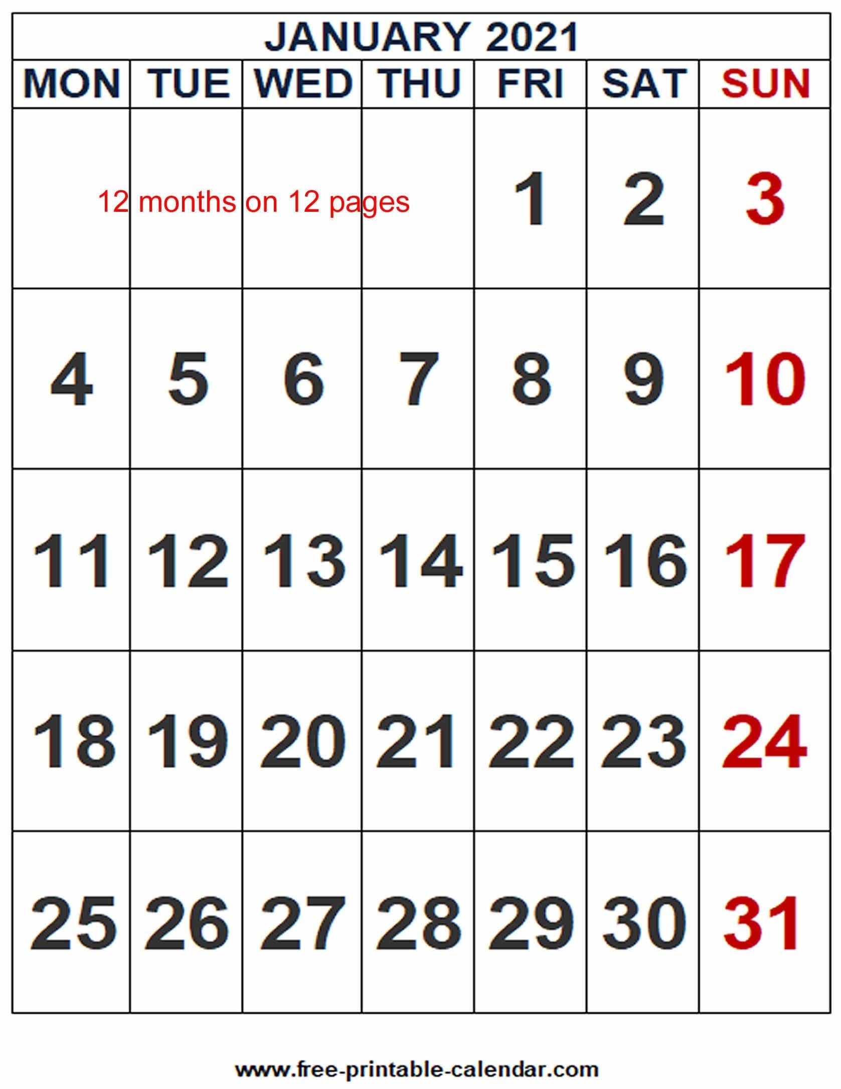 2021 Calendar Word Template - Free-Printable-Calendar Free Calendars 2021 Word Doc Printable August