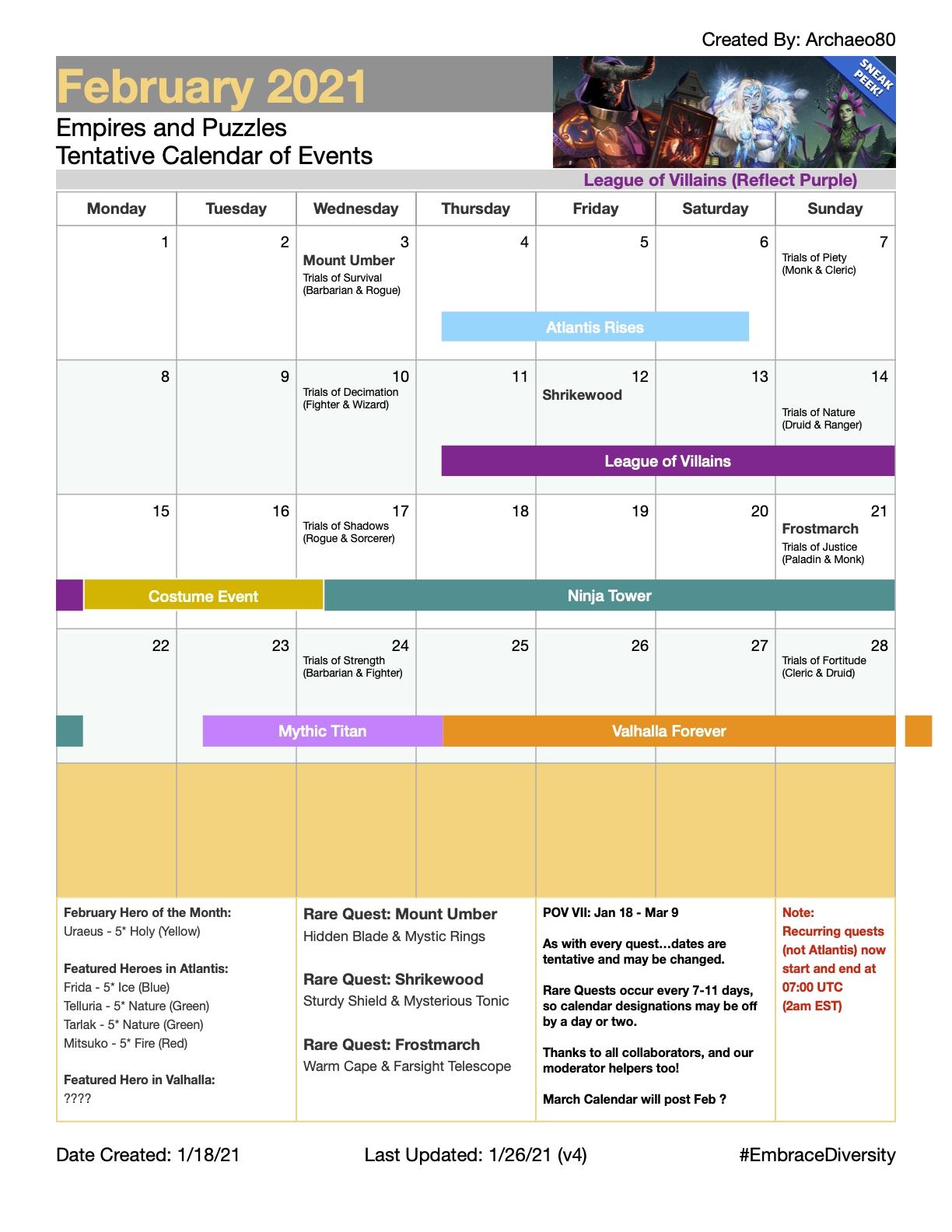 2021 February Calendar (Events, Trials, Rare Quests, Ninja Empires Puzzles December 2021 Calendar