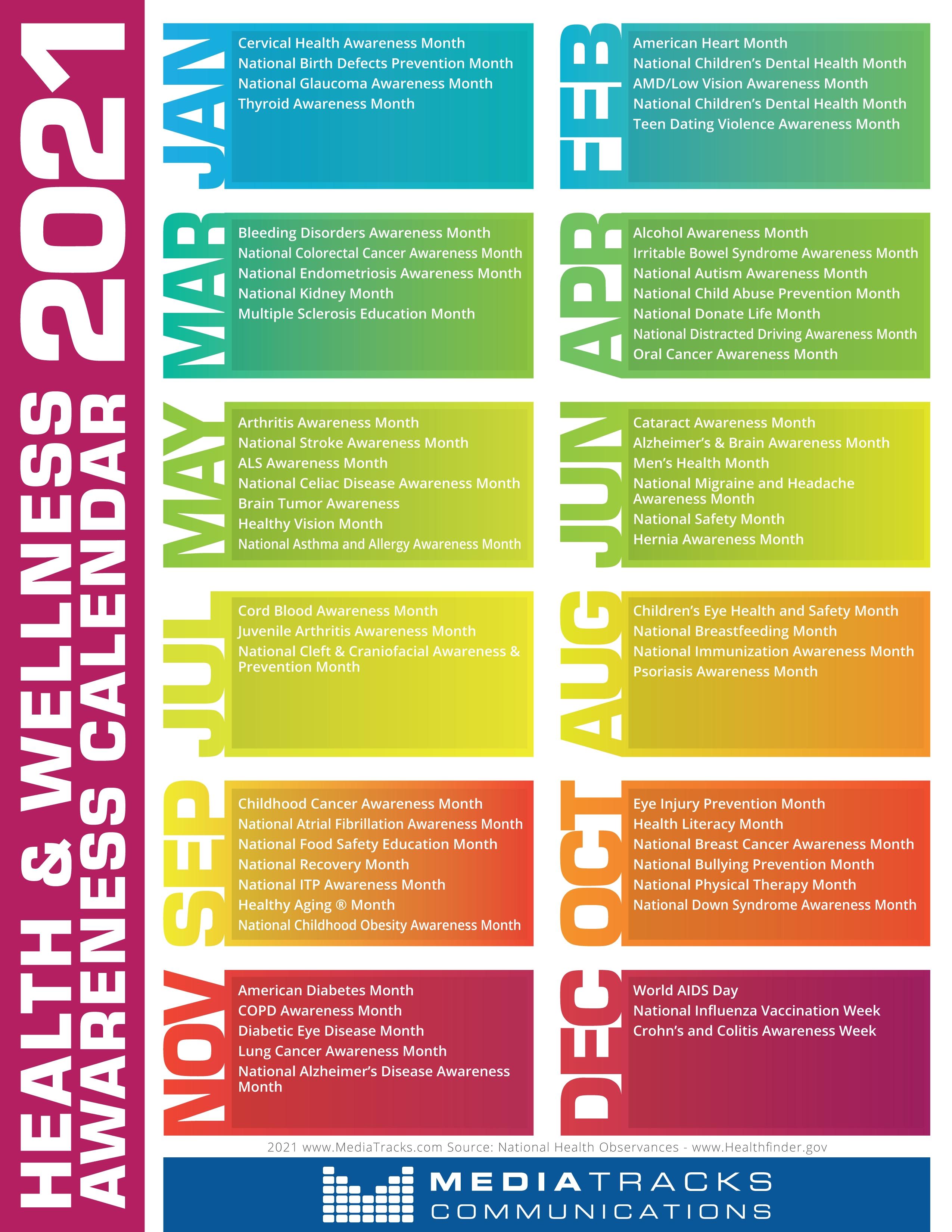 2021 Health & Awareness Calendar Mediatracks   5Th Annual National Awareness Calendar For 2021