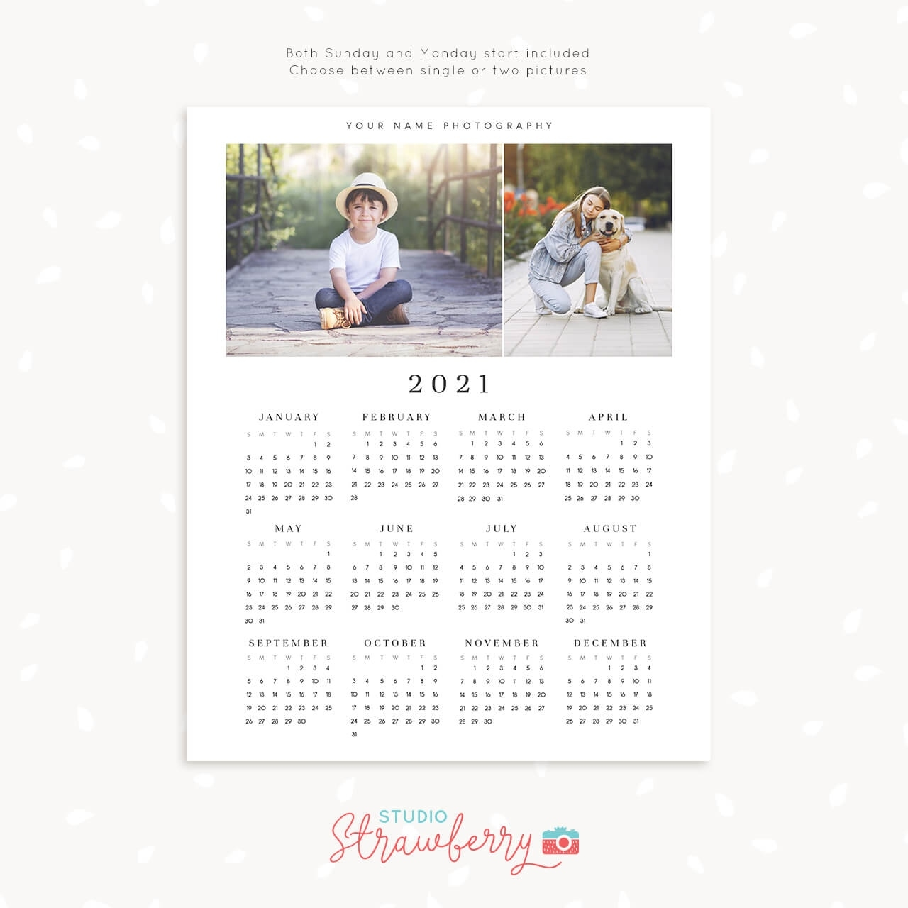 2021 Photo Calendar Template | One Page Printable Calendar 1 Page Calendar Template