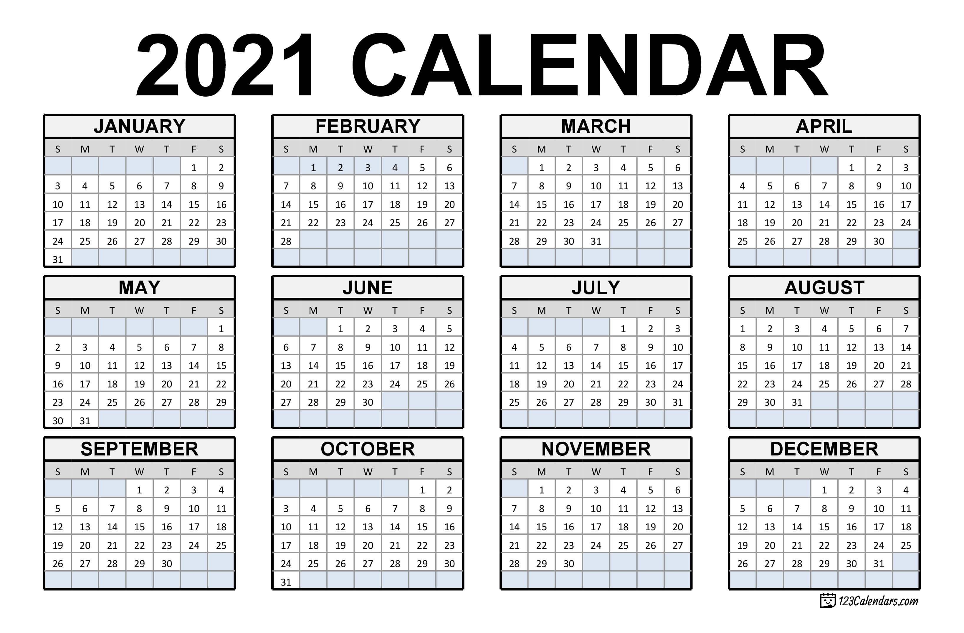 2021 Printable Calendar | 123Calendars Print Ready Calendar Template