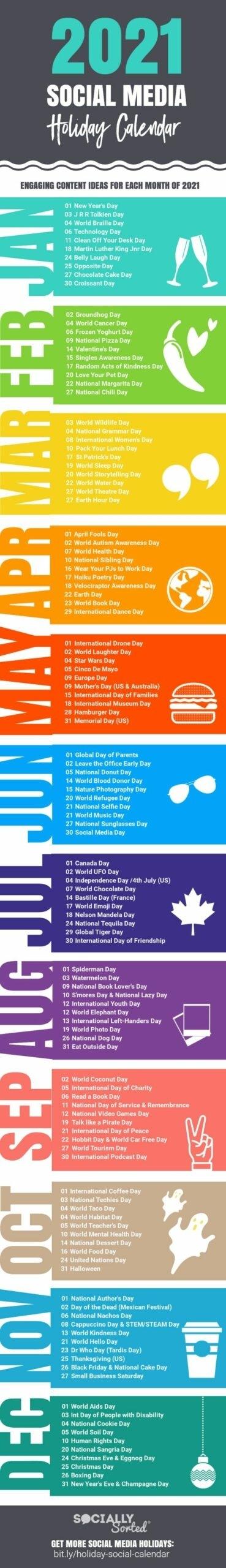2021 Social Media Content Calendar Packed With Post Ideas National Awareness Calendar For 2021