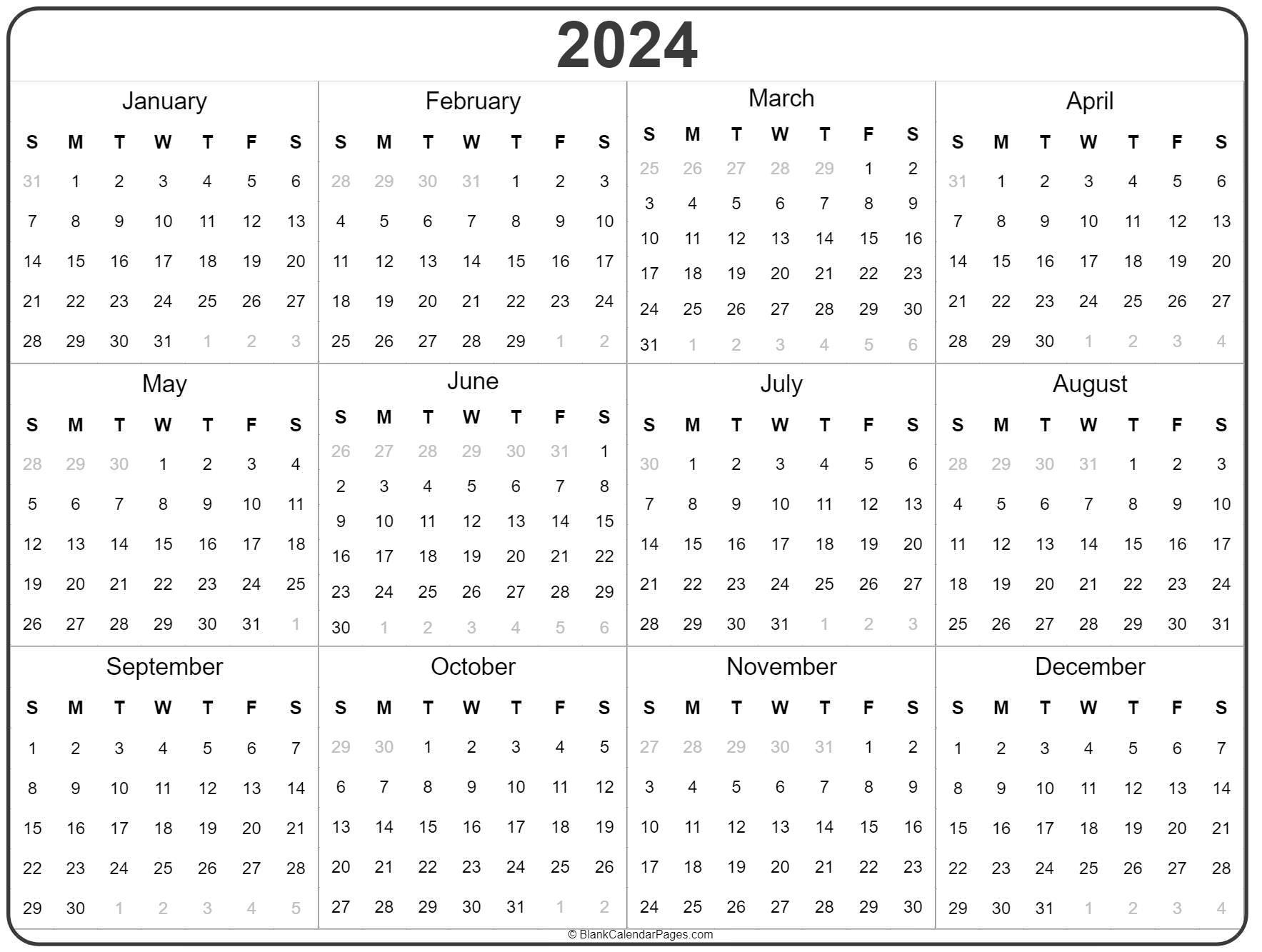 2024 Year Calendar   Yearly Printable 5 Year Calendar Template