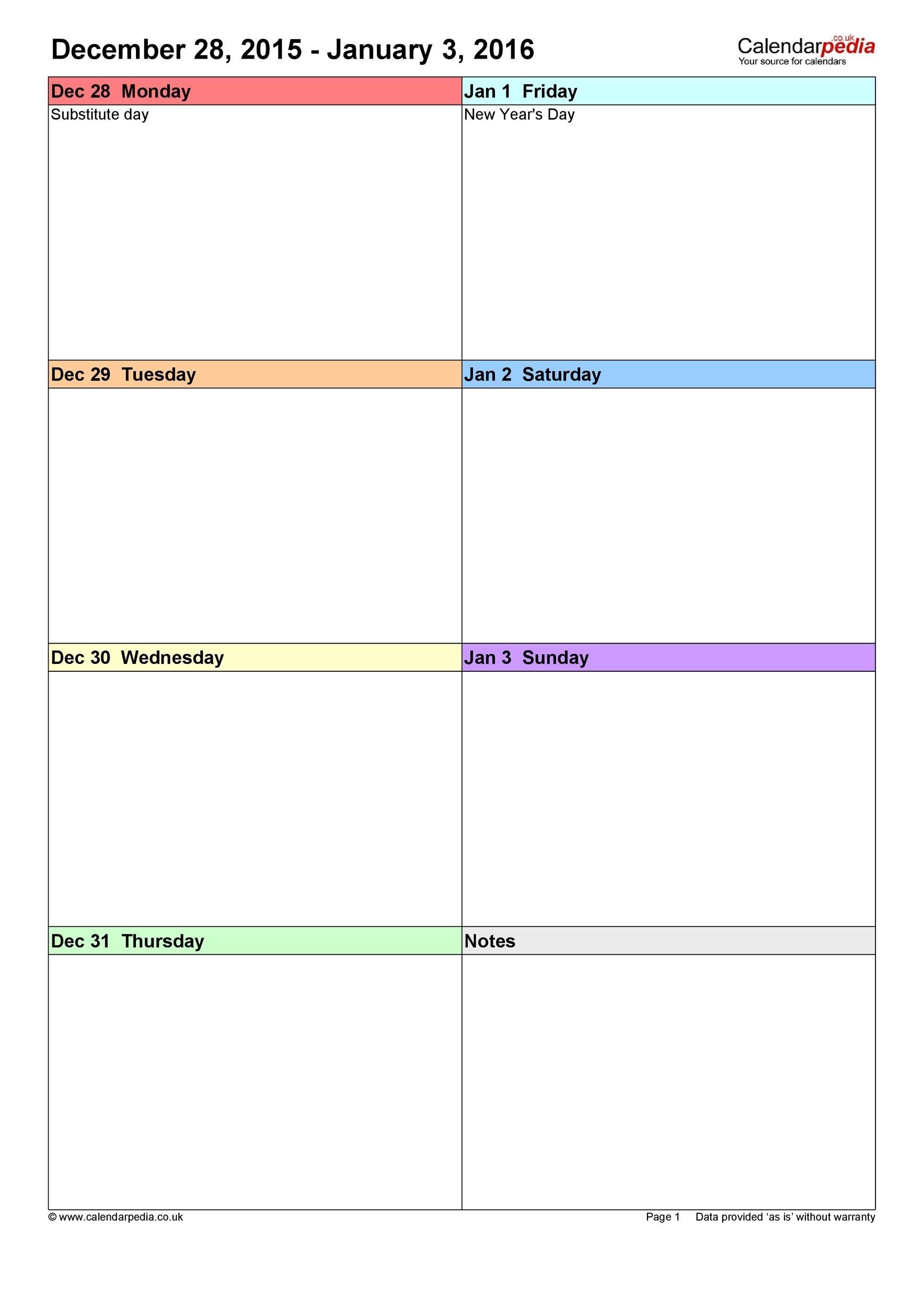 26 Blank Weekly Calendar Templates [Pdf, Excel, Word] ᐅ 1 Week Calendar Template Excel