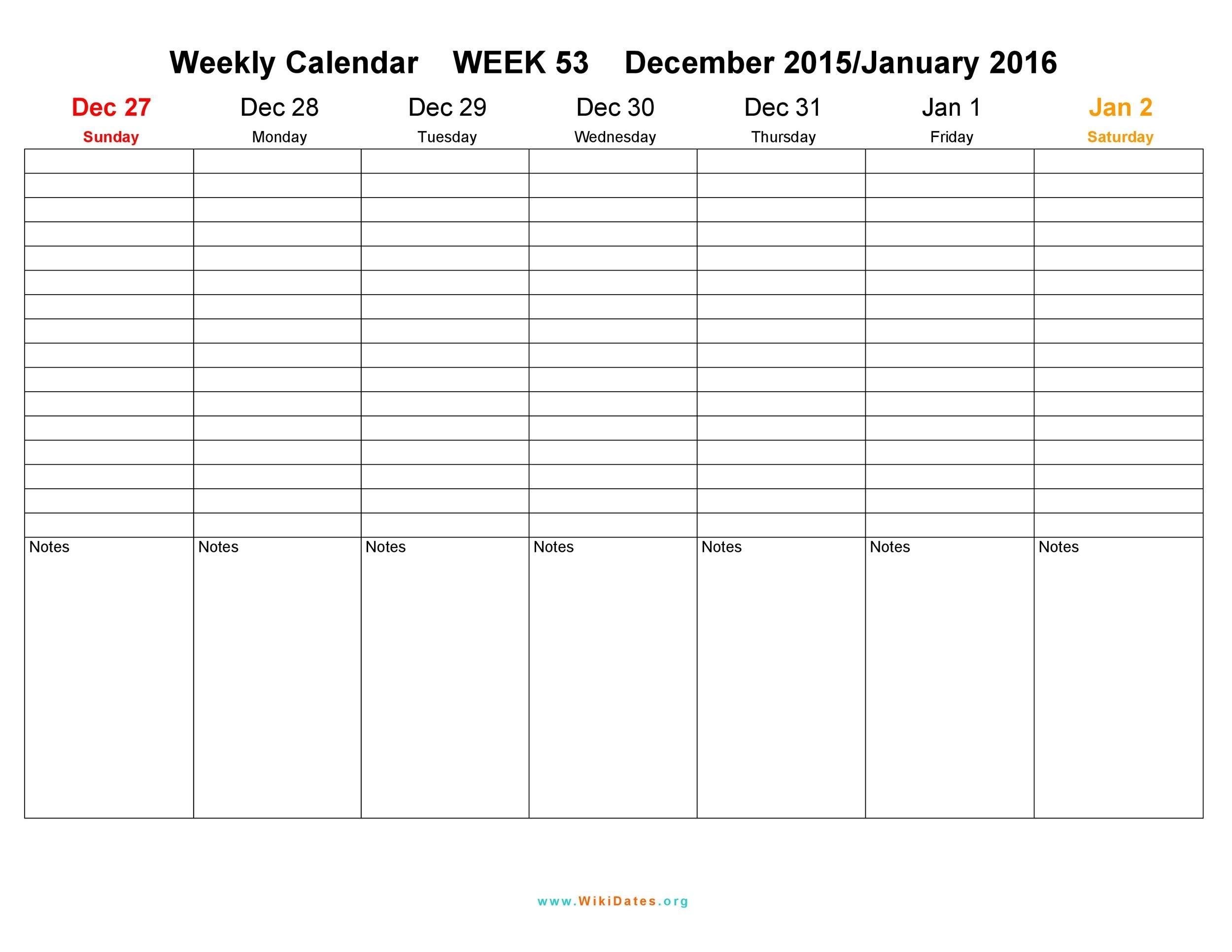 26 Blank Weekly Calendar Templates [Pdf, Excel, Word] ᐅ Calendar Template One Week