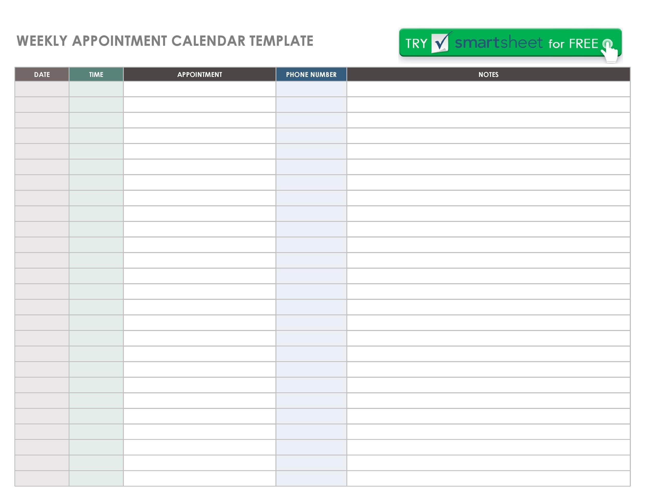 45 Printable Appointment Schedule Templates [& Appointment 7 Day Appointment Calendar Template