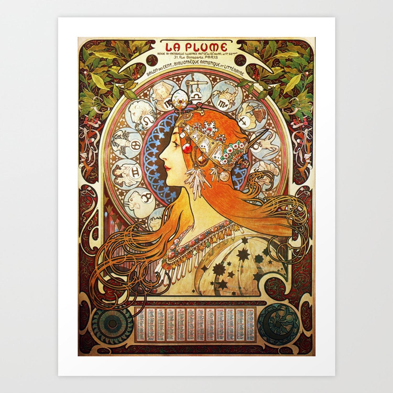 Alphonse Mucha La Plume Zodiac Art Print By Artgallery Zodiac Calendar By Alphonse Mucha