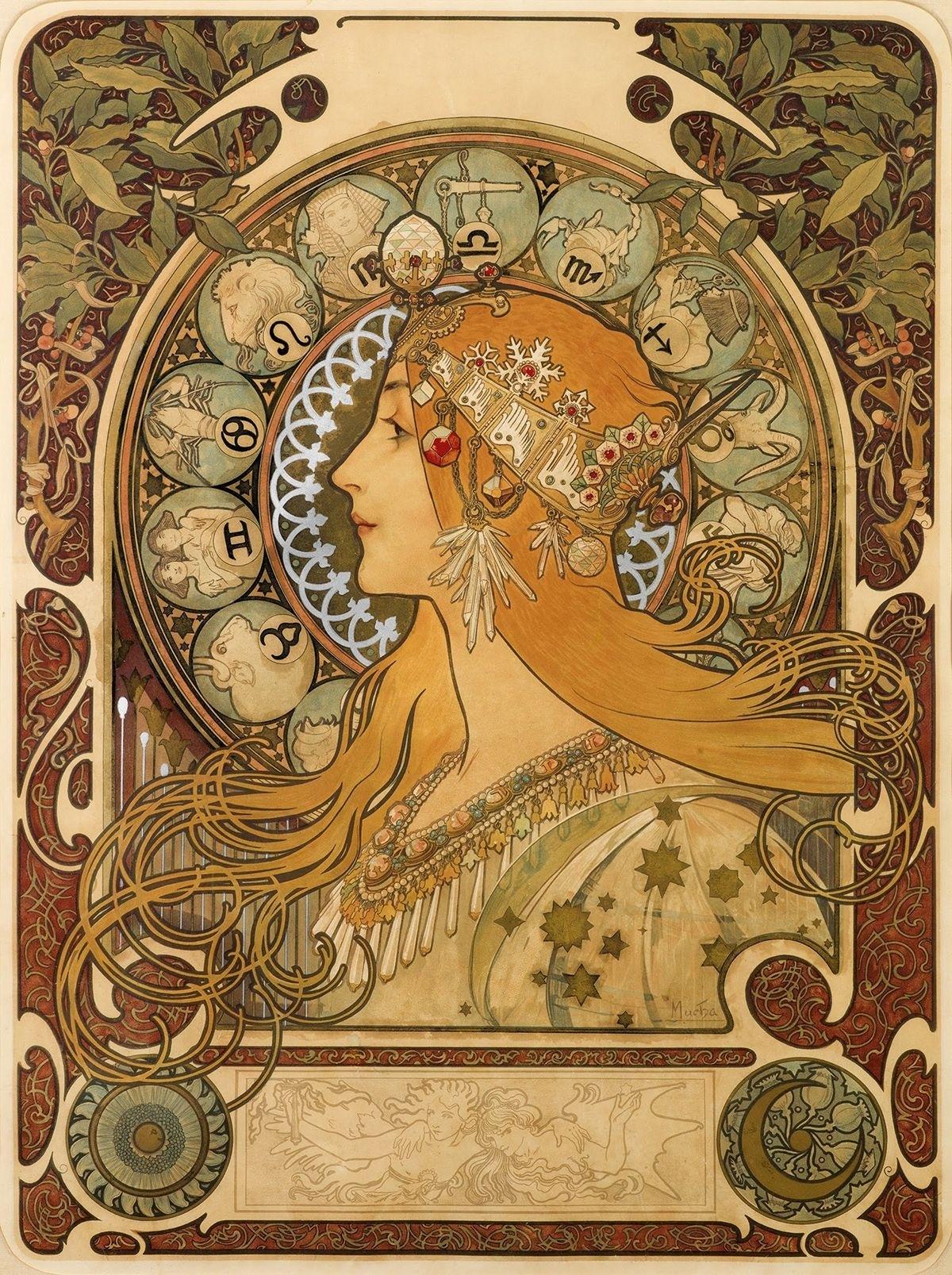 Alphonse Mucha, La Plume — Zodiac Calendar, 1897 | Art Zodiac Calendar By Alphonse Mucha