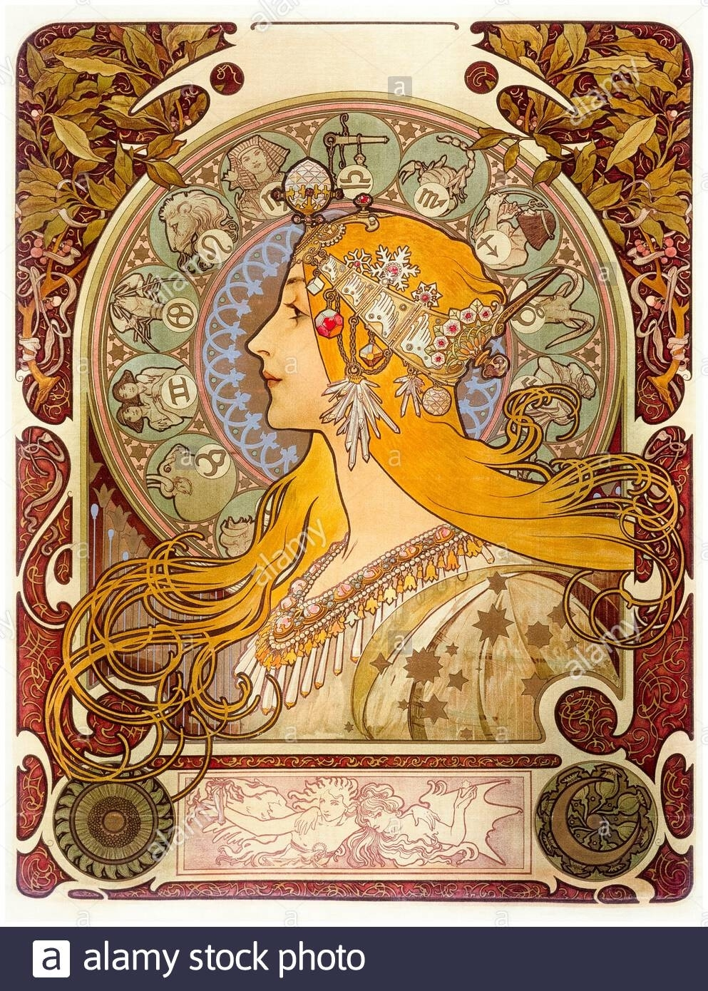 Alphonse Mucha, Zodiac, Art Nouveau Poster, 1896 Stock Photo Zodiac Calendar By Alphonse Mucha