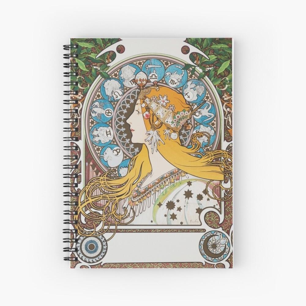 Alphonse Mucha Zodiac Calendar For La Plume 1897 Vintage Art Nouveau Zodiac  Long Hair Woman Hd | Spiral Notebook Zodiac Calendar By Alphonse Mucha