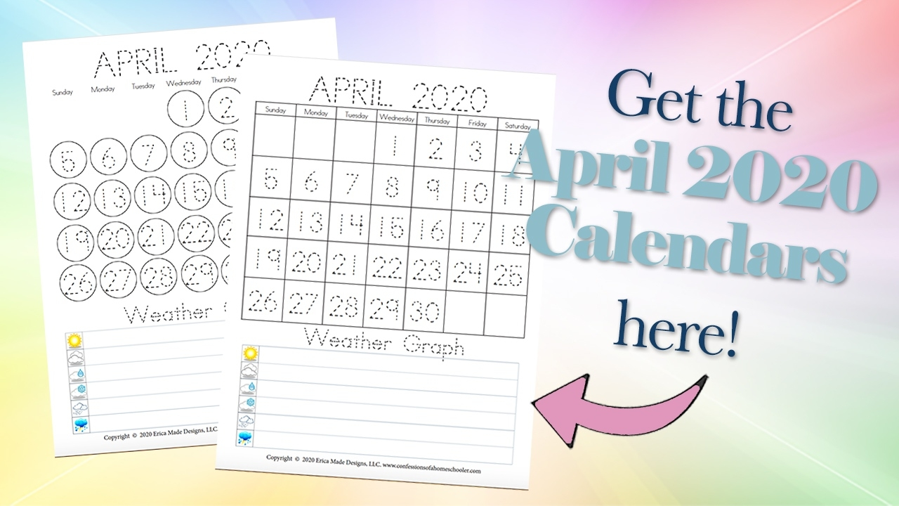 April 2020 Free Printable Calendars - Confessions Of A Printable Kindergarten Calendar Template