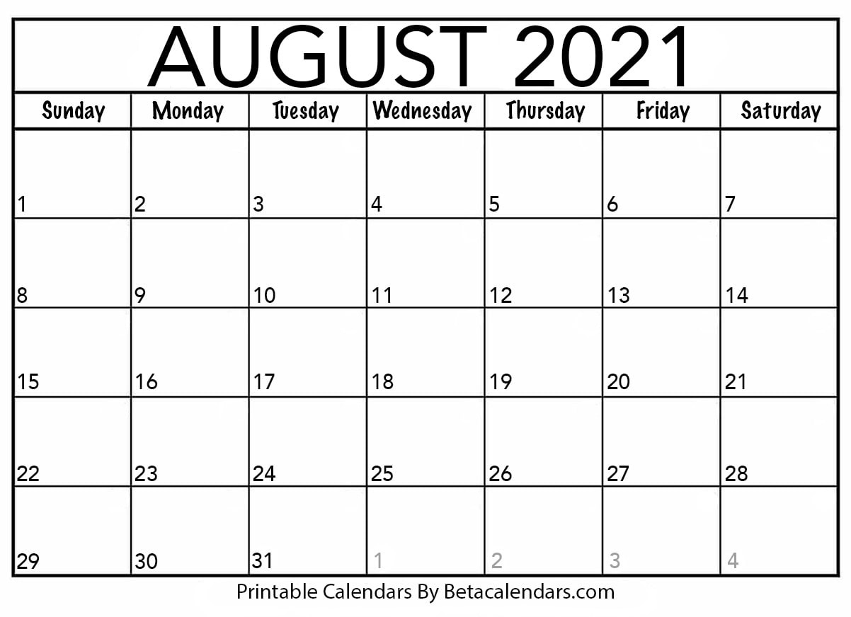 August 2021 Calendar | Blank Printable Monthly Calendars August 2021 Template Calendar