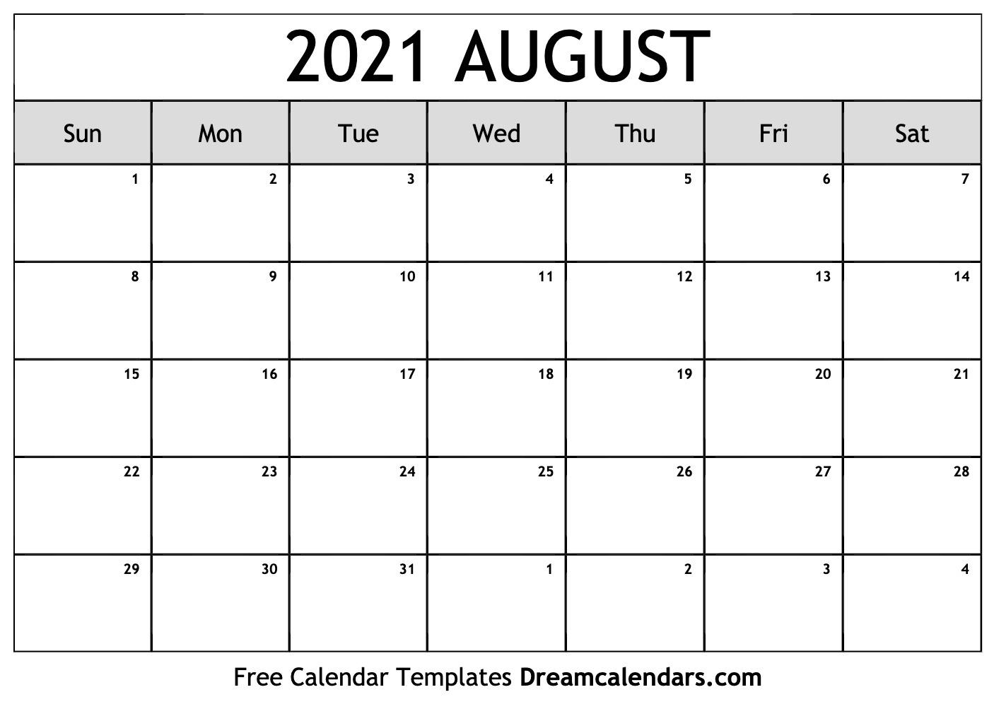 August 2021 Calendar | Free Blank Printable Templates August 2021 Template Calendar