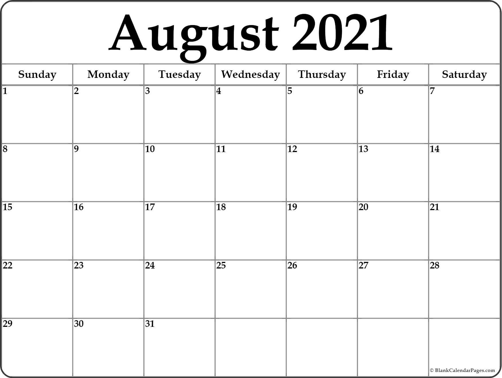 August 2021 Calendar | Free Printable Calendar August 2021 Template Calendar