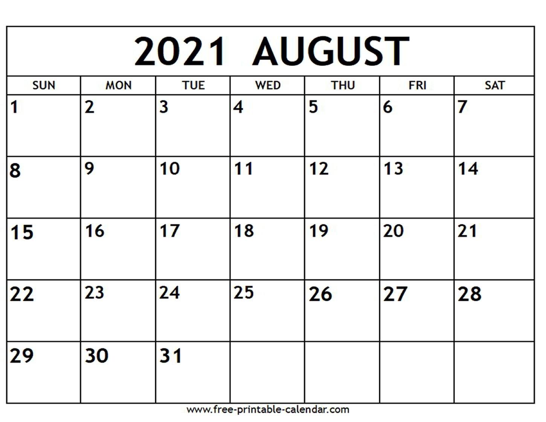 August 2021 Calendar - Free-Printable-Calendar Free Calendars 2021 Word Doc Printable August