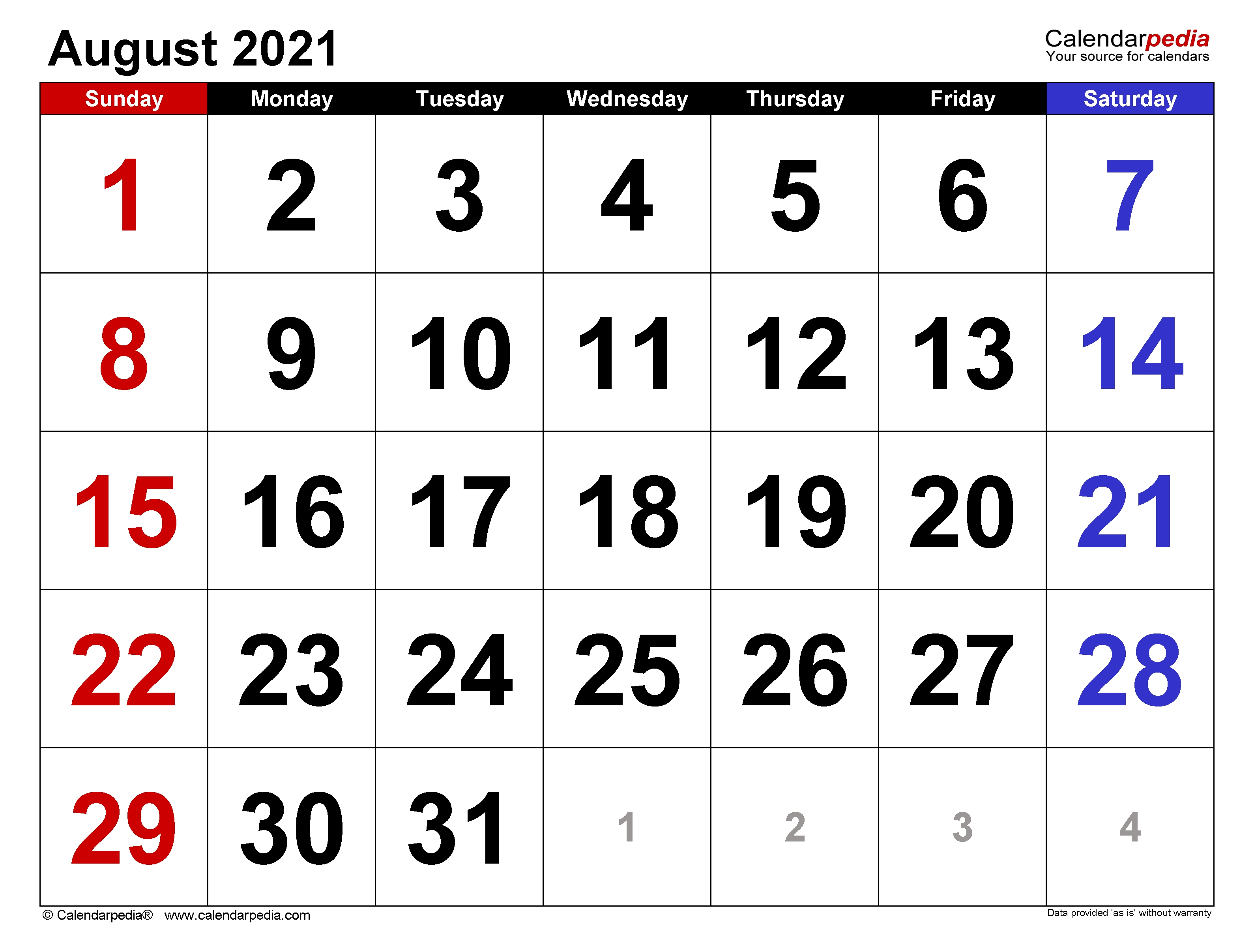 August 2021 Calendar | Templates For Word, Excel And Pdf August 2021 Template Calendar