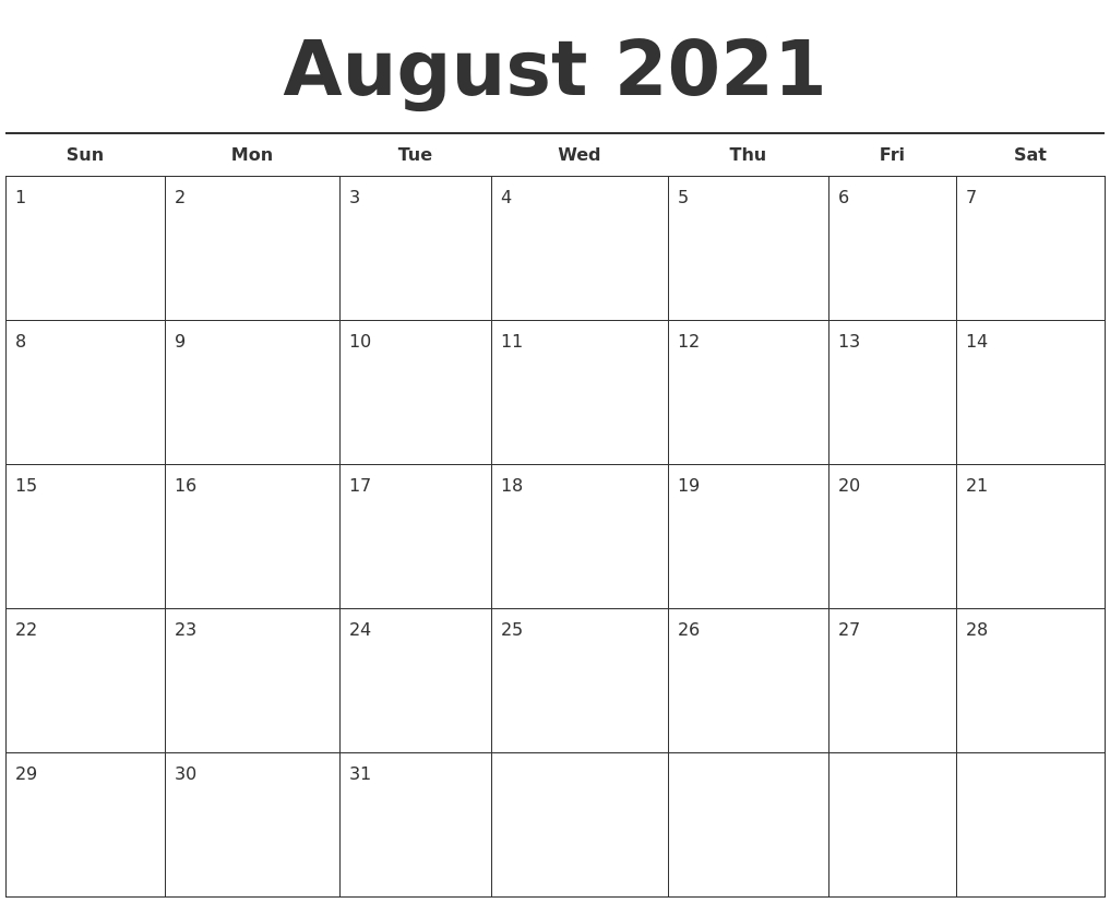 August 2021 Free Calendar Template August 2021 Template Calendar