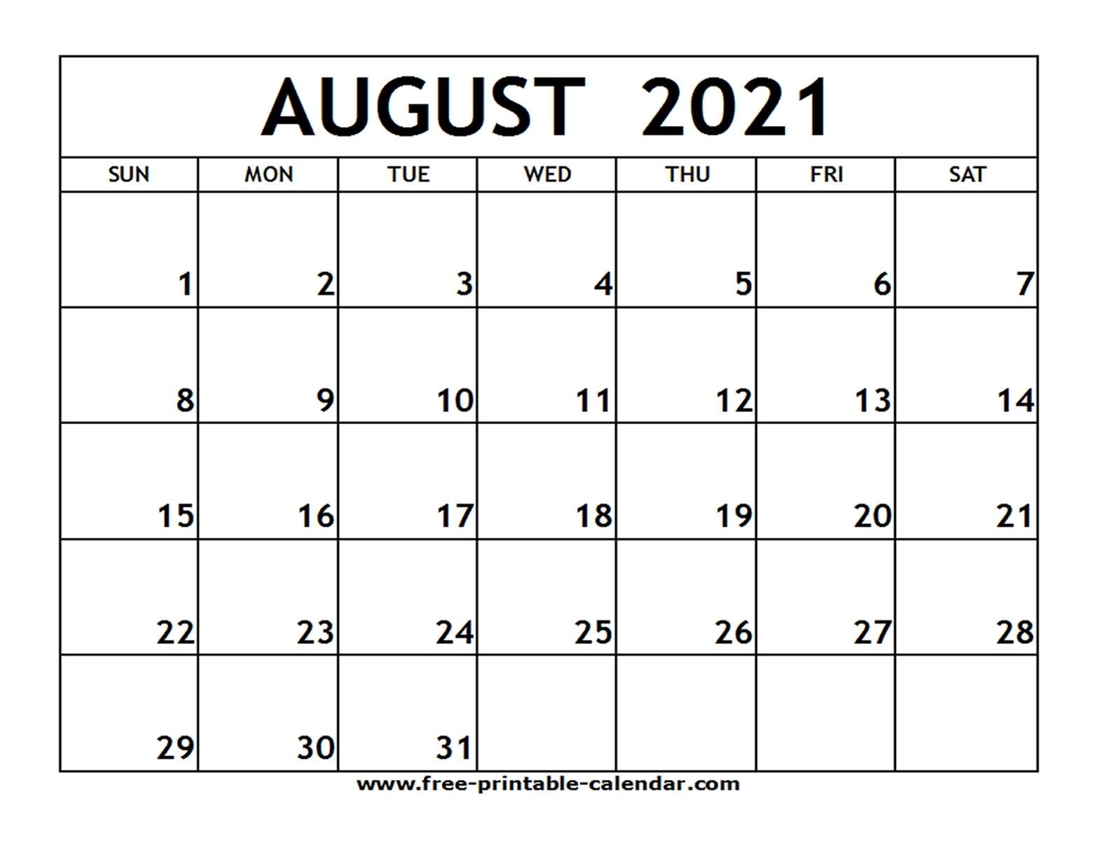 August 2021 Printable Calendar - Free-Printable-Calendar August 2021 Template Calendar