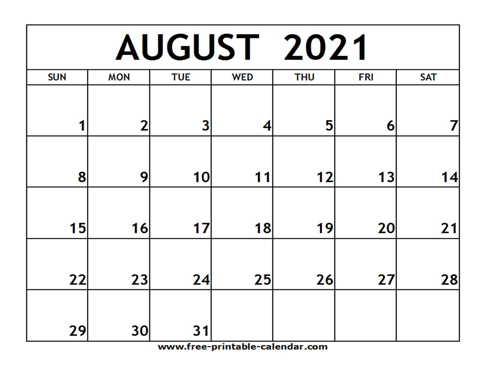 August 2021 Printable Calendar - Free-Printable-Calendar Free Calendars 2021 Word Doc Printable August