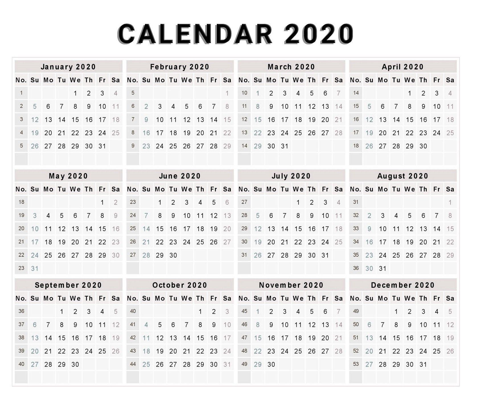 Blank 2020 One Page Calendar Printable | Calendar Template 1 Page Calendar Template