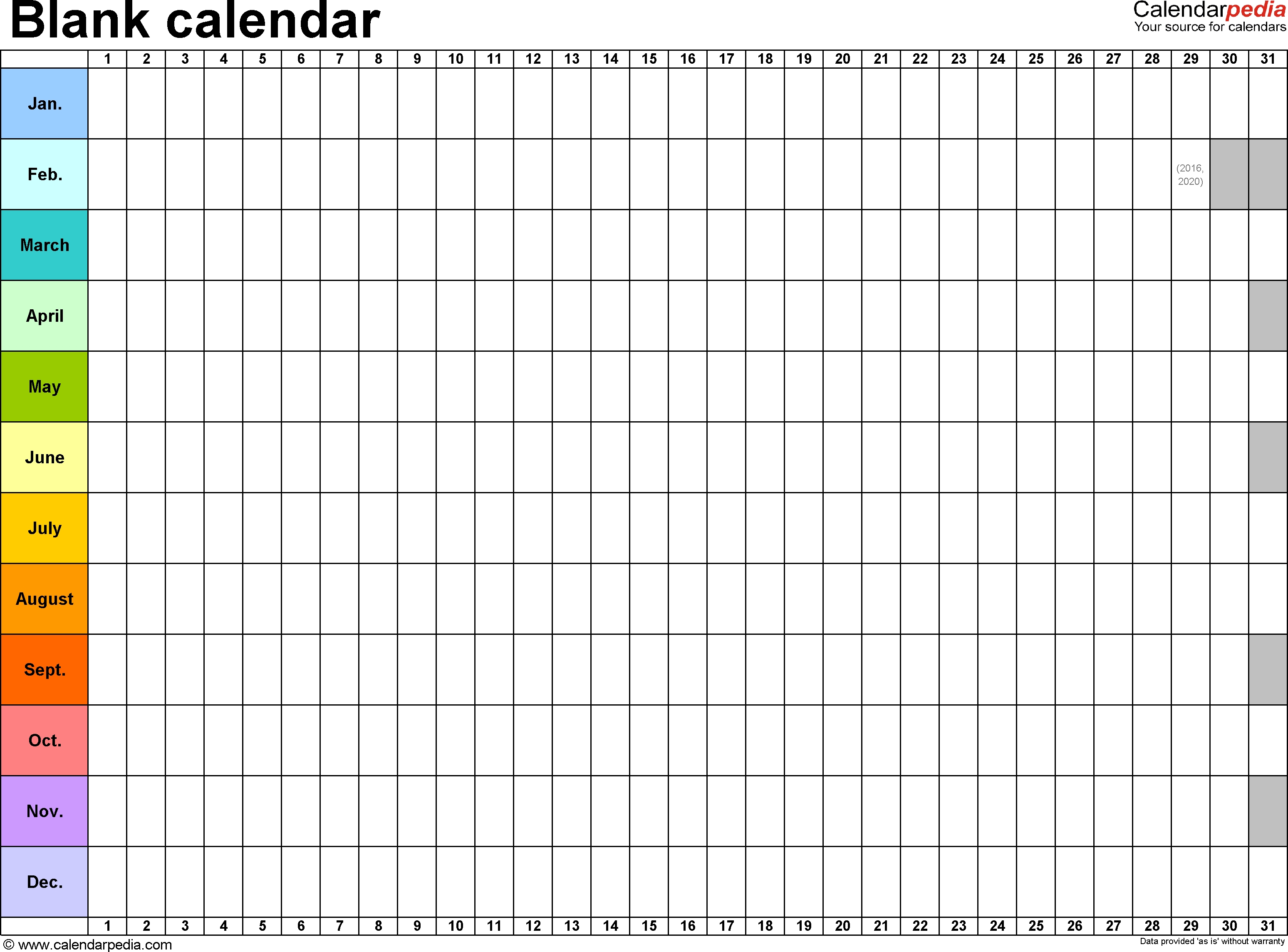 Blank Calendar - 9 Free Printable Microsoft Excel Templates Excel Calendar Template Yearly