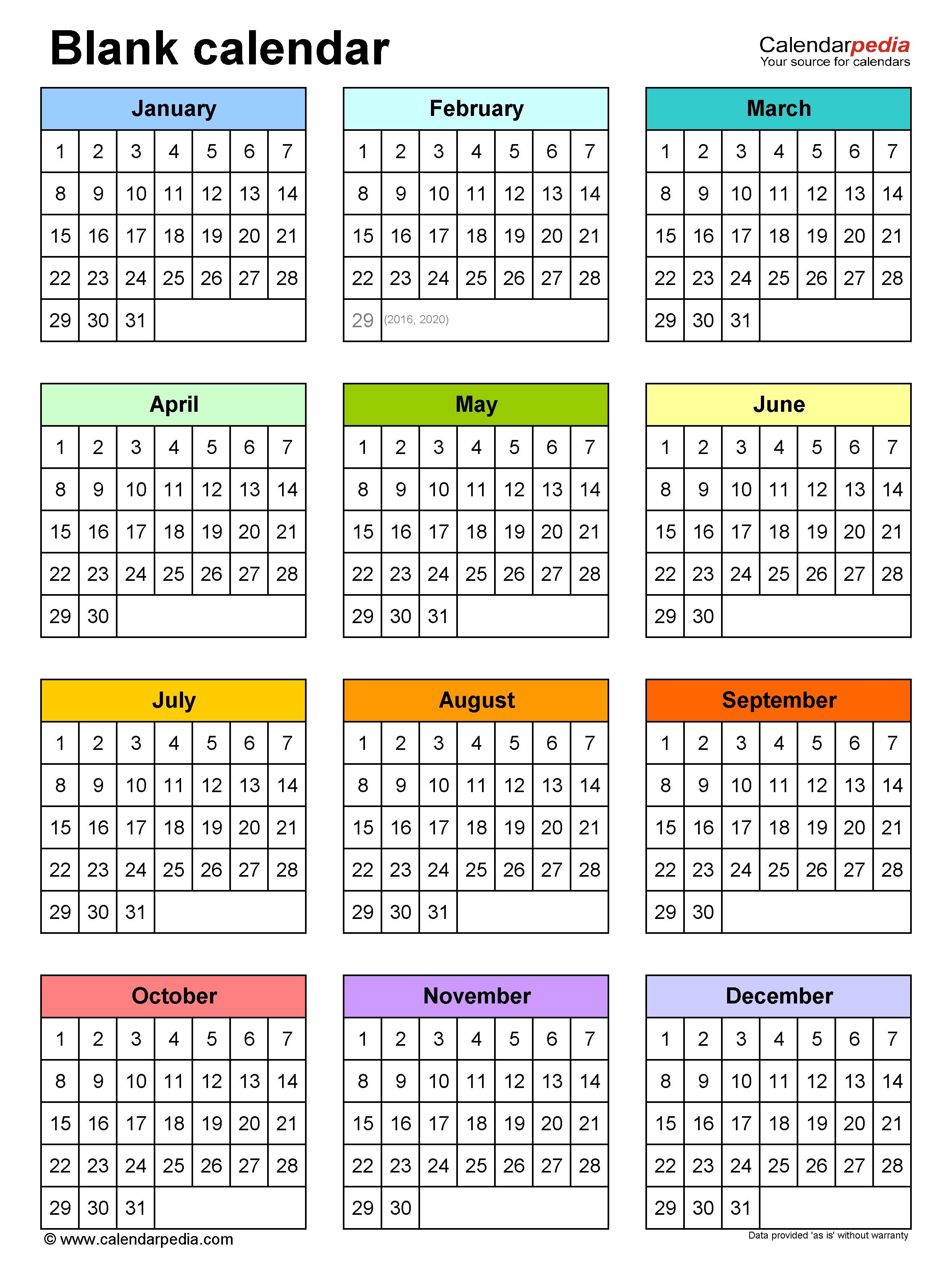 Blank Calendars - Free Printable Microsoft Word Templates 1 Page Calendar Template
