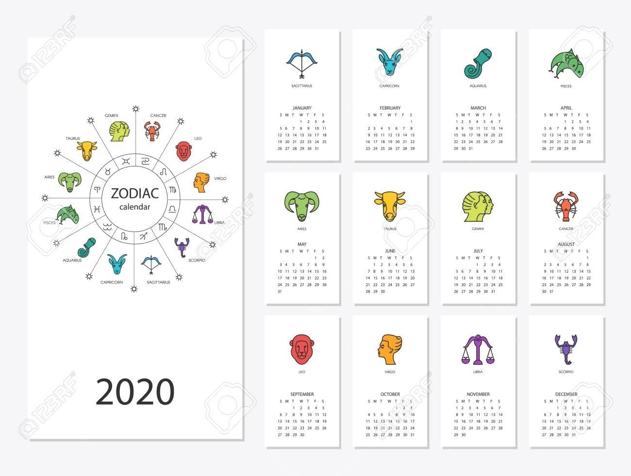 Calendar 2020 With Horoscope Signs Zodiac Symbols Set English Calendar Zodiac Signs