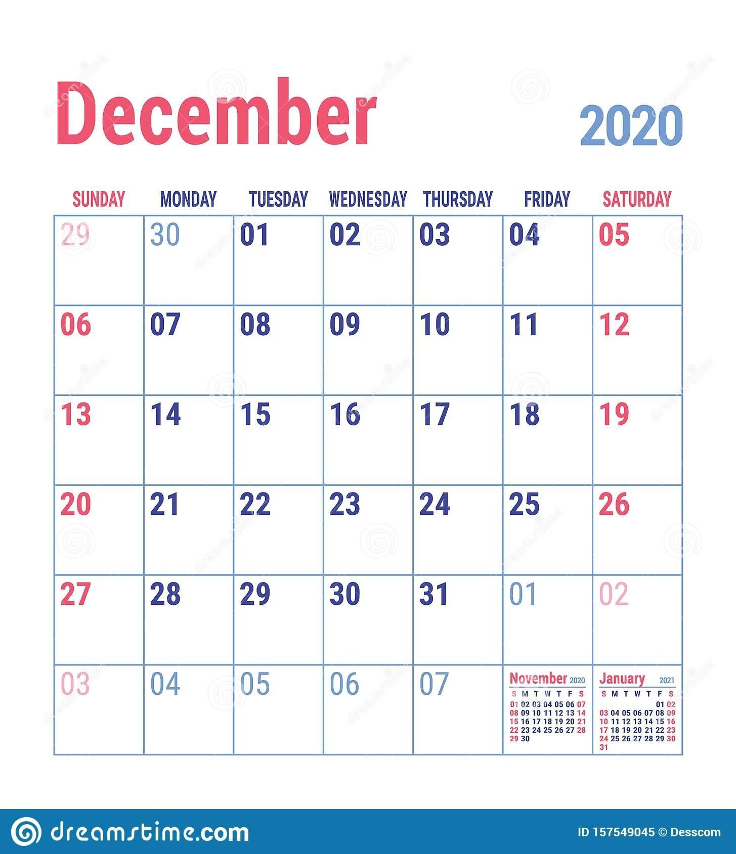 Calendar December 2020. English Calender Template. Vector Календарь Декабрь Схема2021