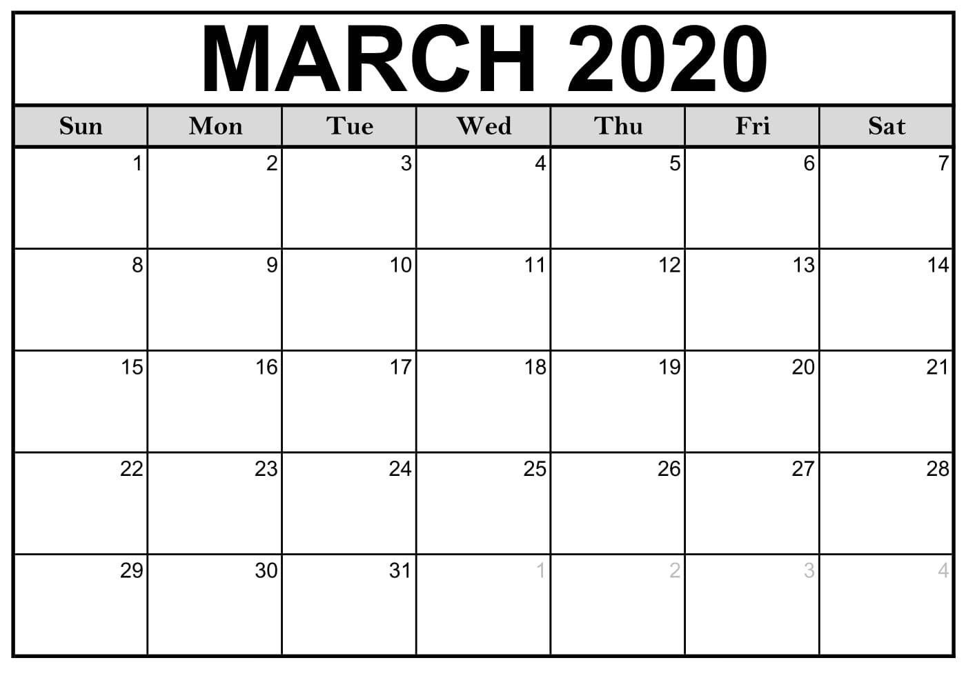 Calendar March 2020 Free Printable | Calendar Printables Calendar Template To Print Free