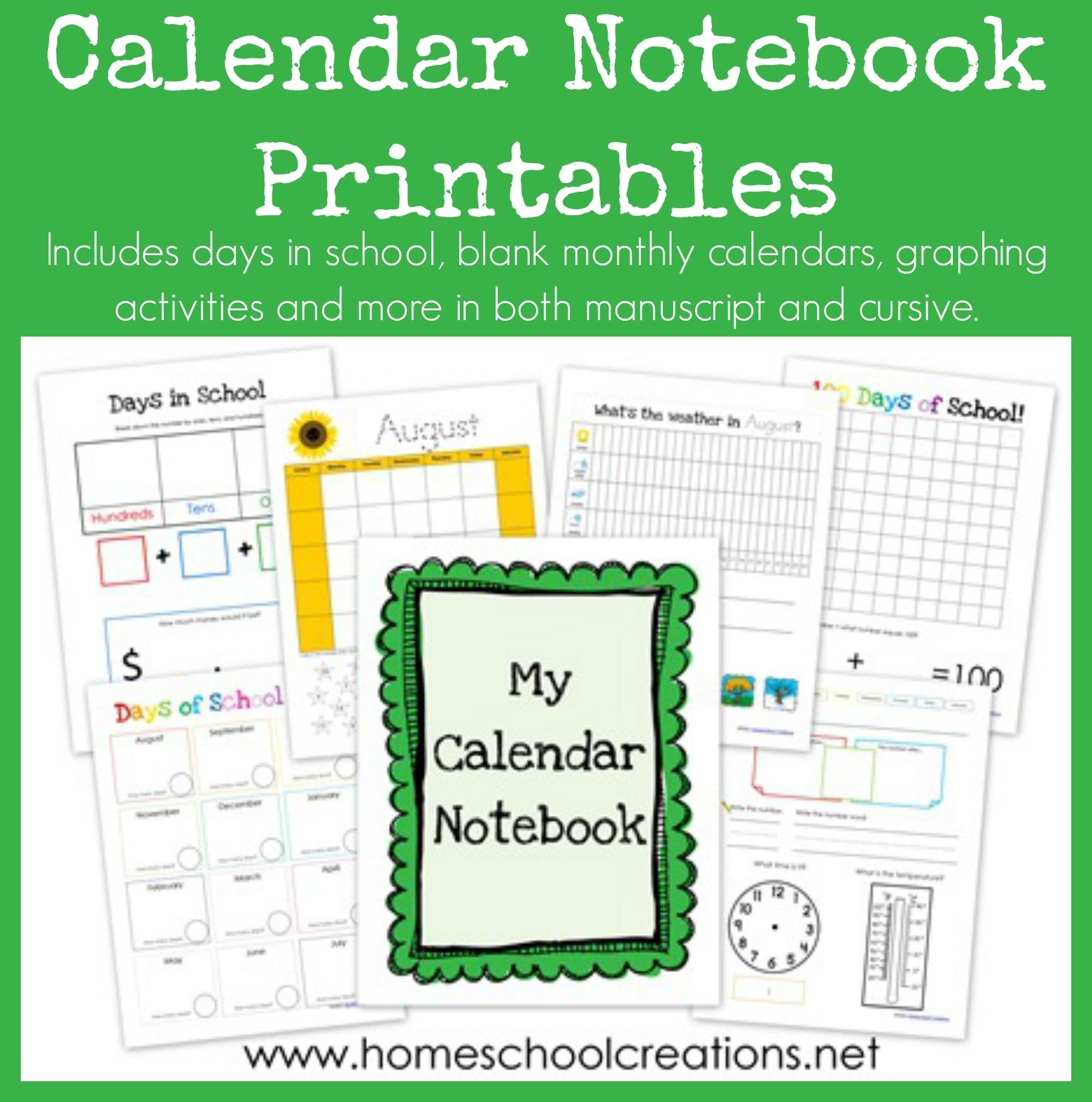 Calendar Notebook Binder Printables Printable Kindergarten Calendar Template